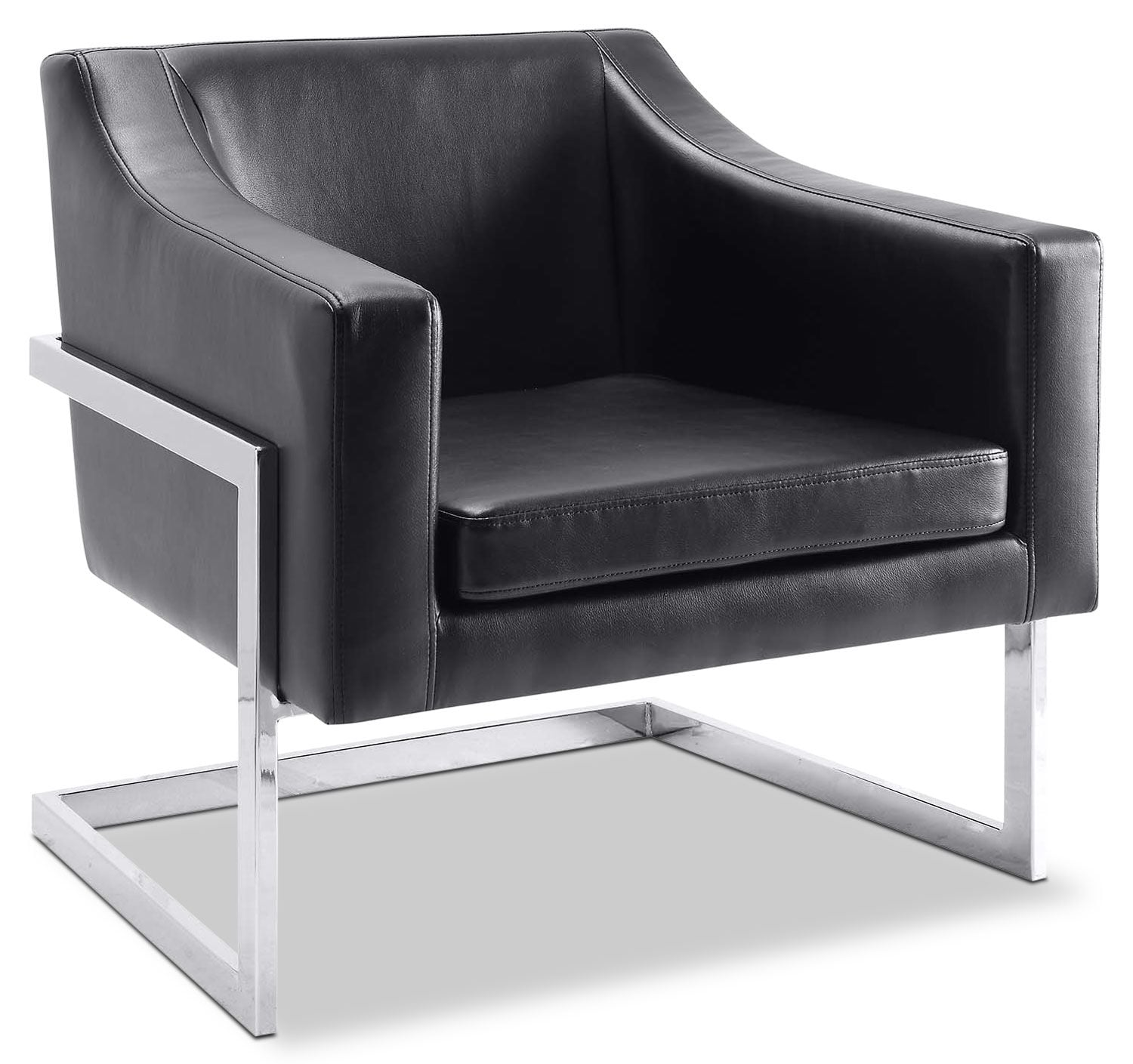 Candid Bonded Leather Accent Chair - Black
