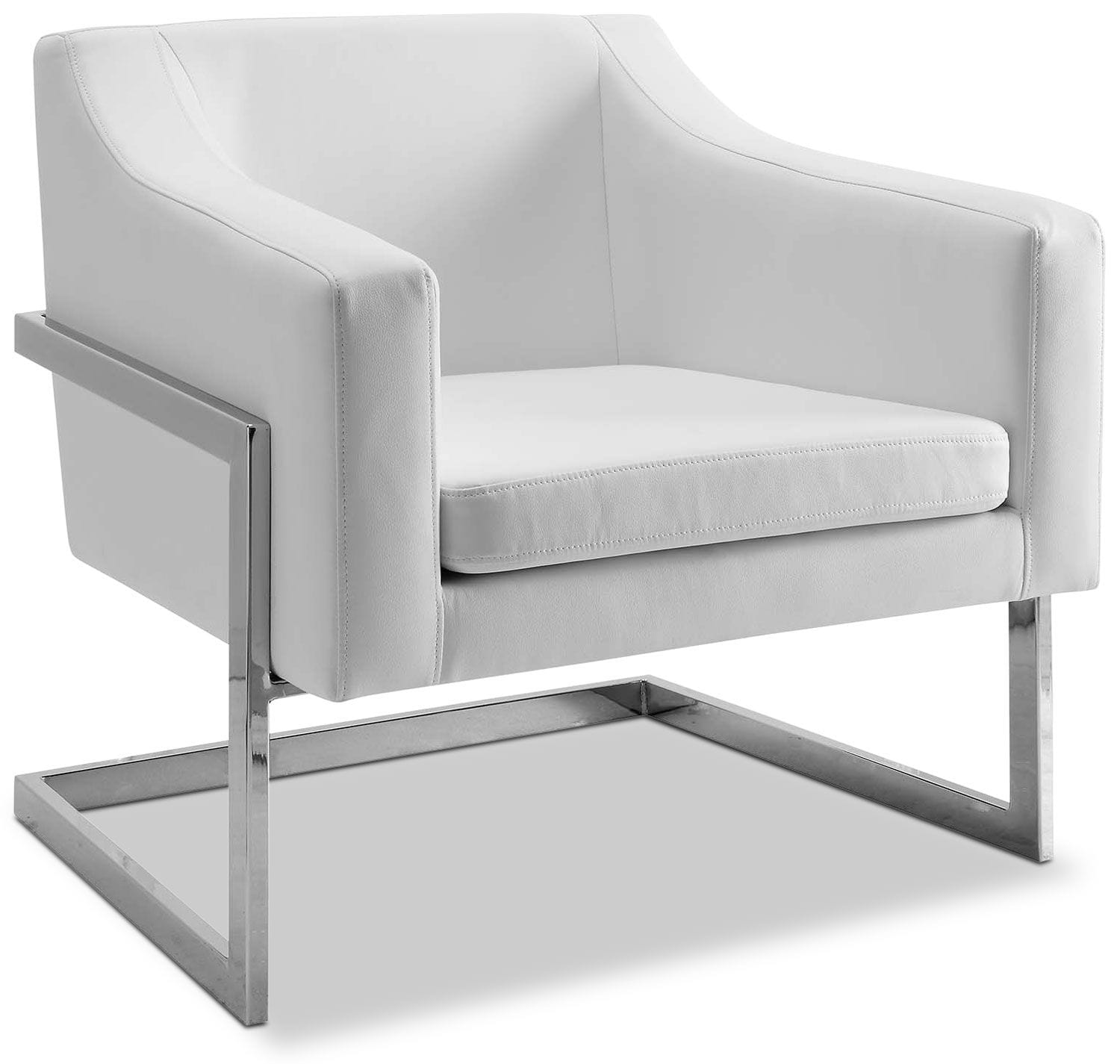 Living Room Furniture - Candid Bonded Leather Accent Chair - White