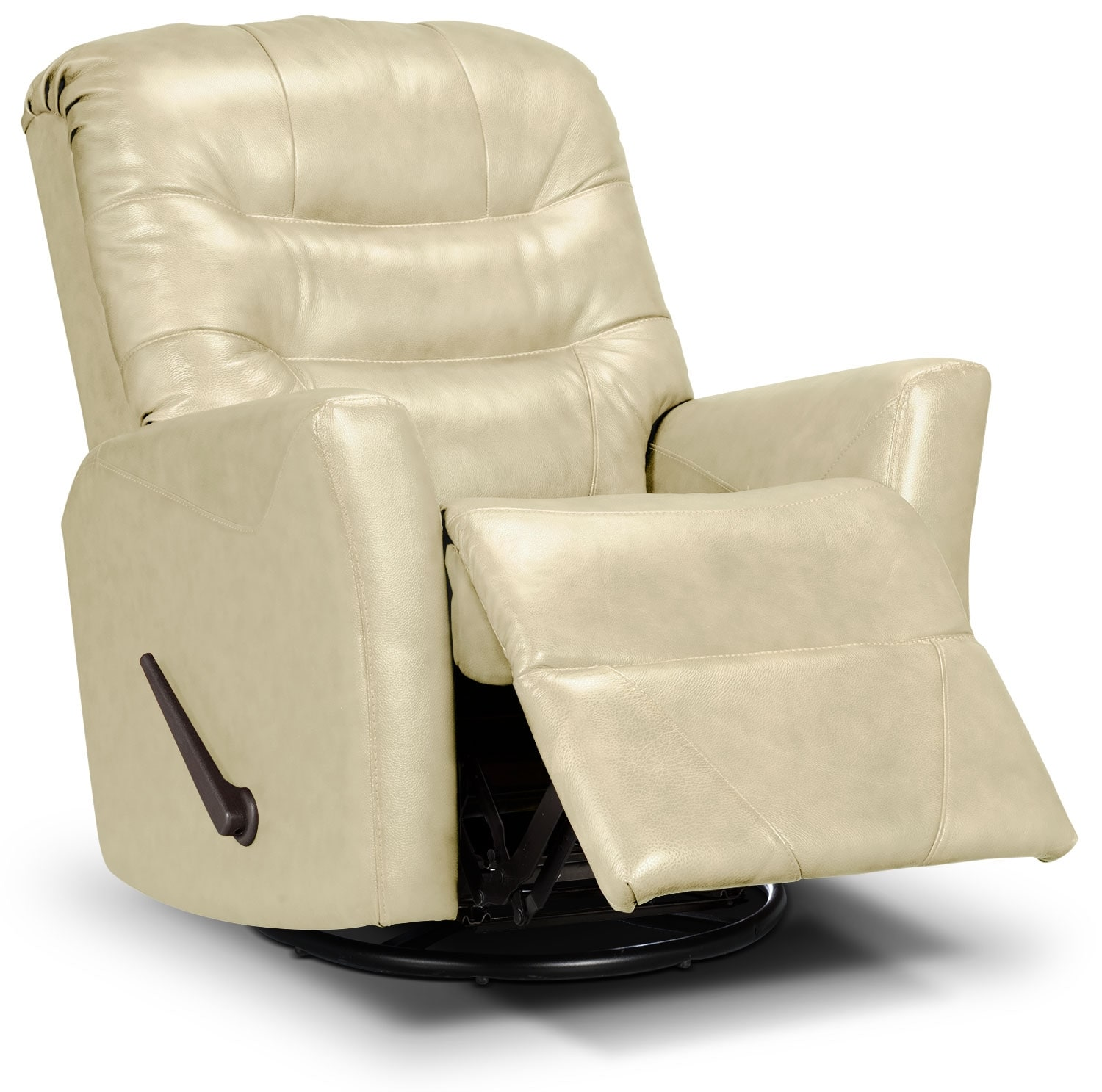 Living Room Furniture - Designed2B Recliner 4560 Bonded Leather Swivel Glider Recliner - Beige