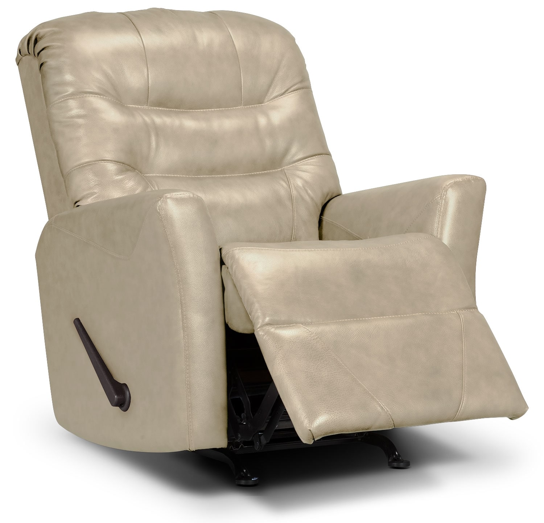 Living Room Furniture - Designed2B Recliner 4560 Genuine Leather Rocker Recliner - Taupe