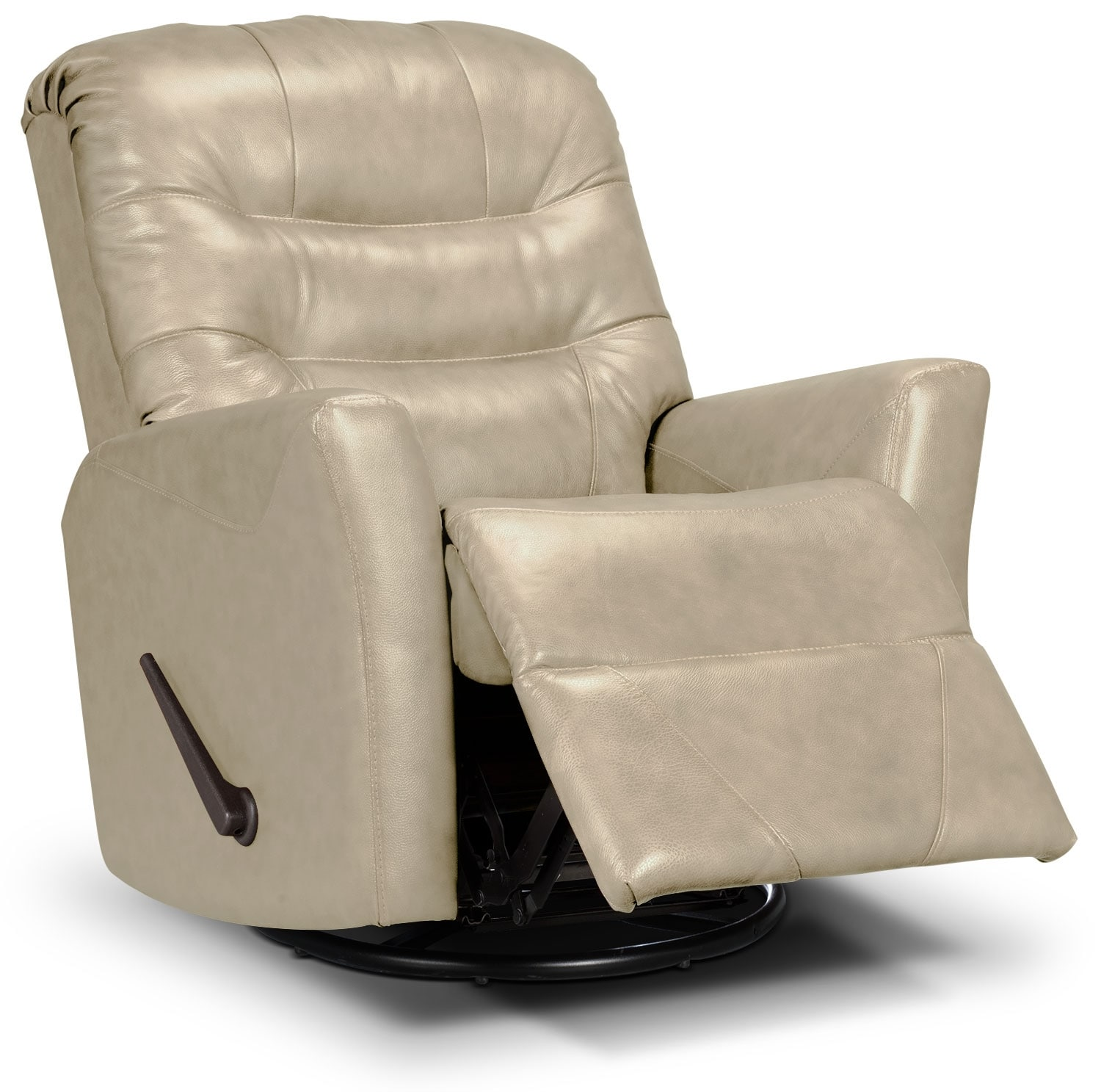 Designed2B Recliner 4560 Genuine Leather Swivel Glider Recliner - Taupe