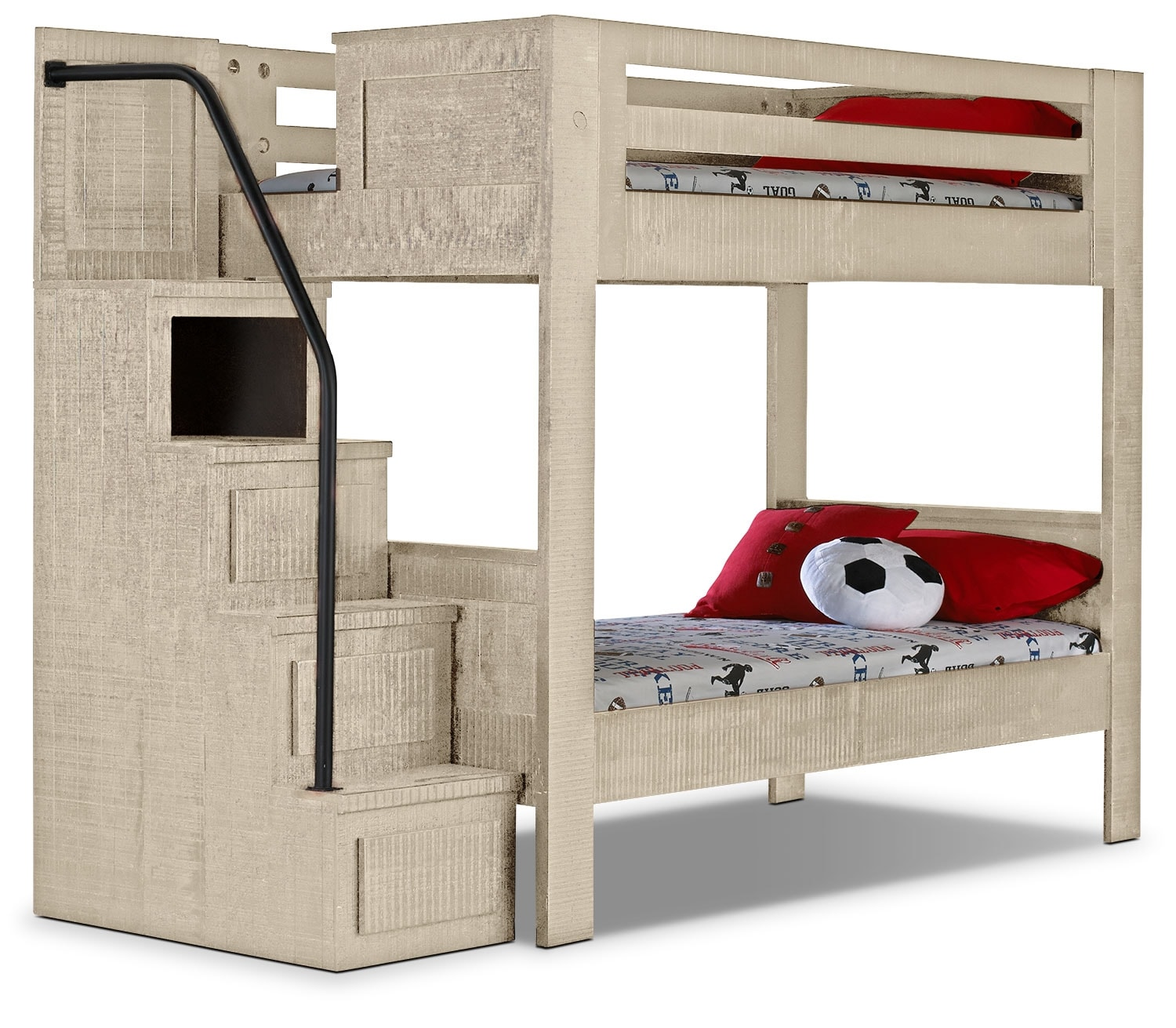 Kids Furniture - Phoenix White Twin Staircase Bunk Bed
