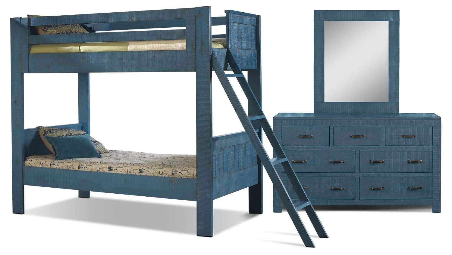 Kids Furniture - Phoenix 5-Piece Twin Bunkbed Bedroom Package - Blue