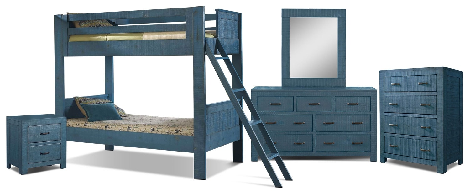 Kids Furniture - Phoenix 8-Piece Twin Bunkbed Bedroom Package - Blue
