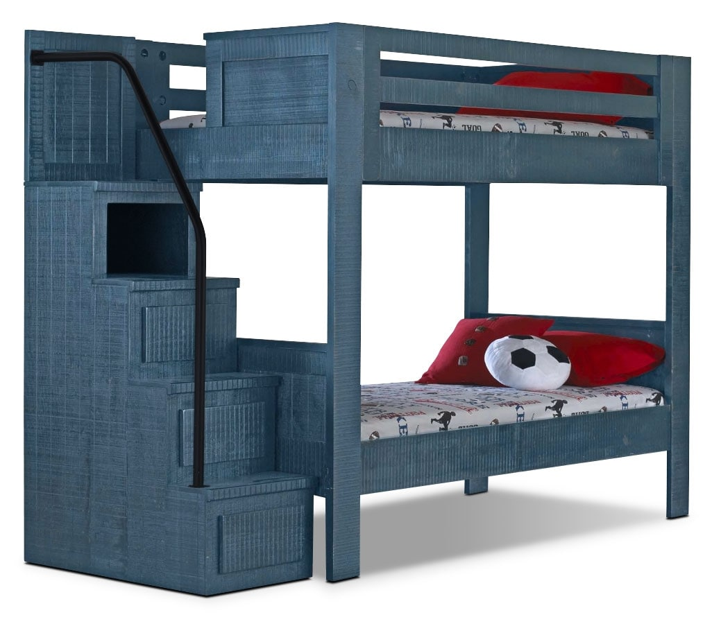 Kids Furniture - Phoenix Blue Twin Staircase Bunk Bed