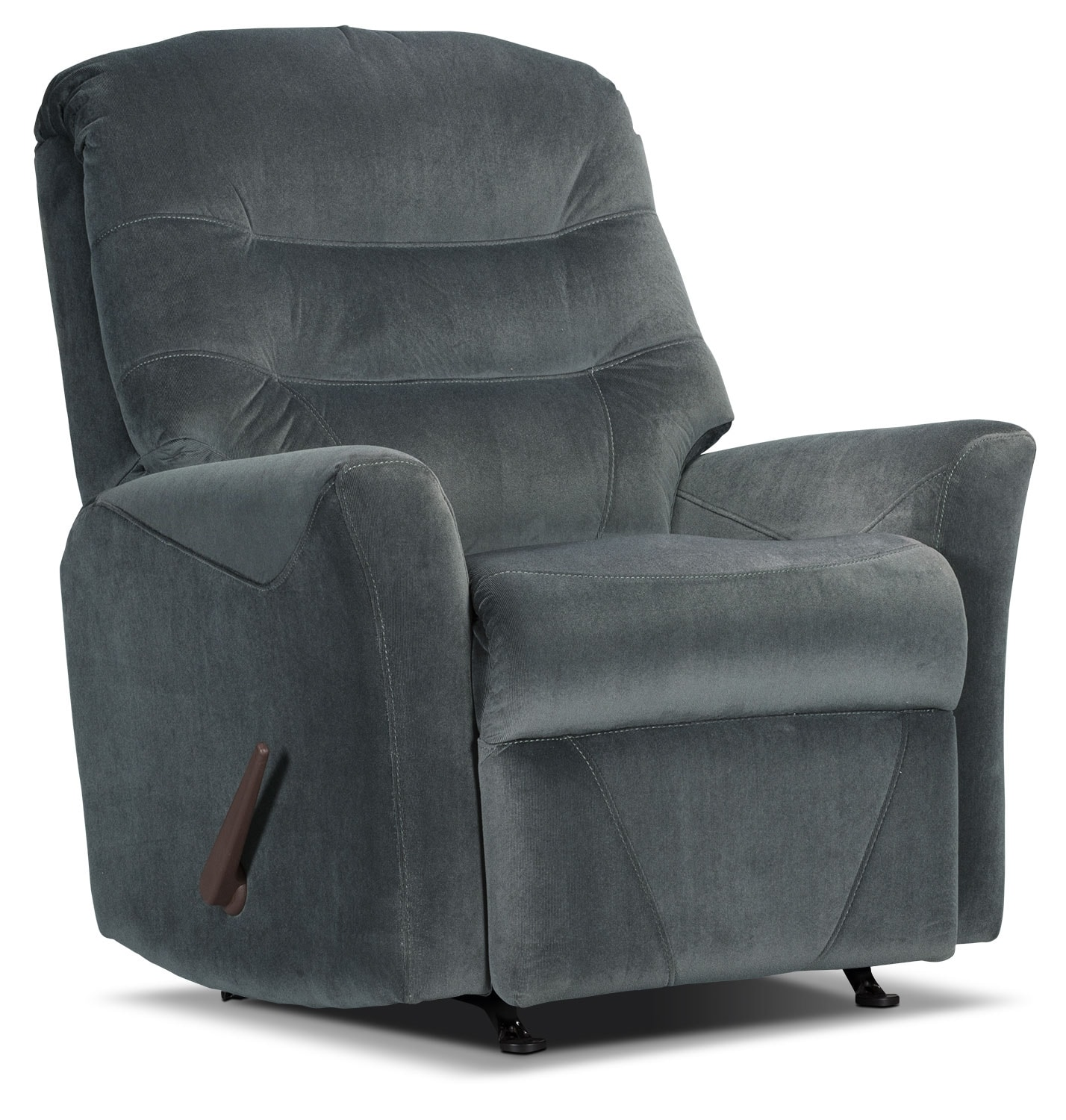 Living Room Furniture - Designed2B Recliner 4560 Microsuede Rocker Recliner - Graphite