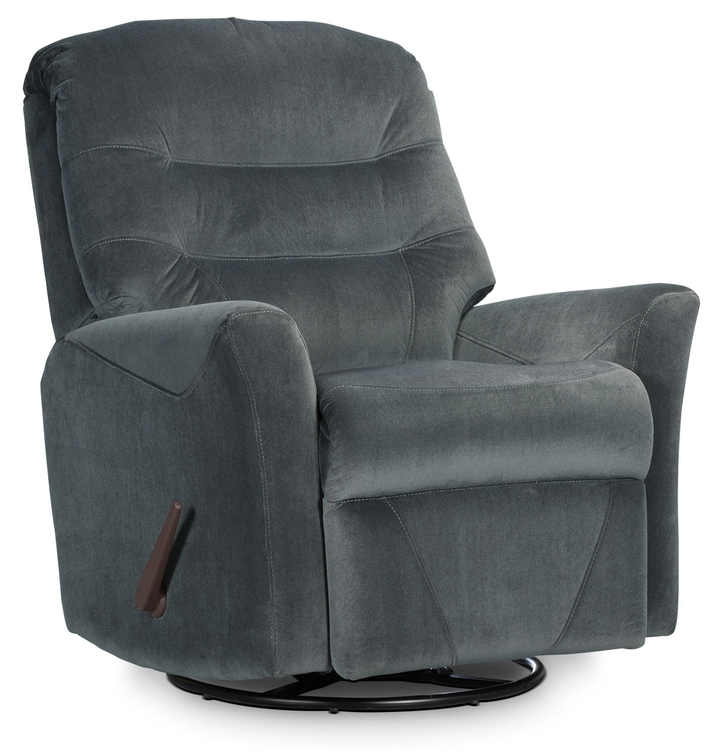 Living Room Furniture - Designed2B Recliner 4560 Microsuede Swivel Glider Recliner - Graphite