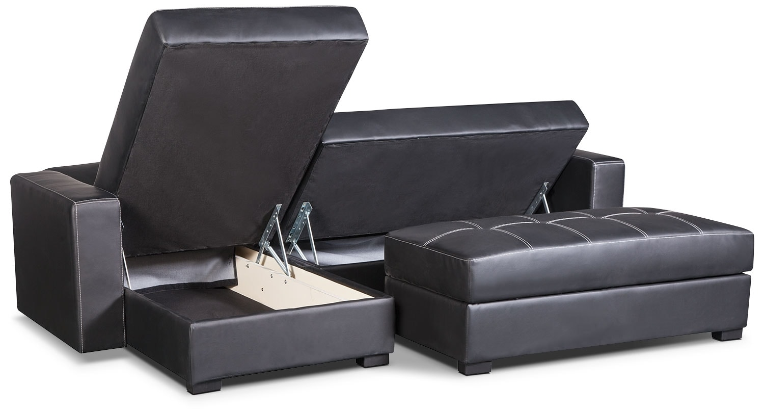 belize piece storage futon with chaise  black  the brick - click to change image