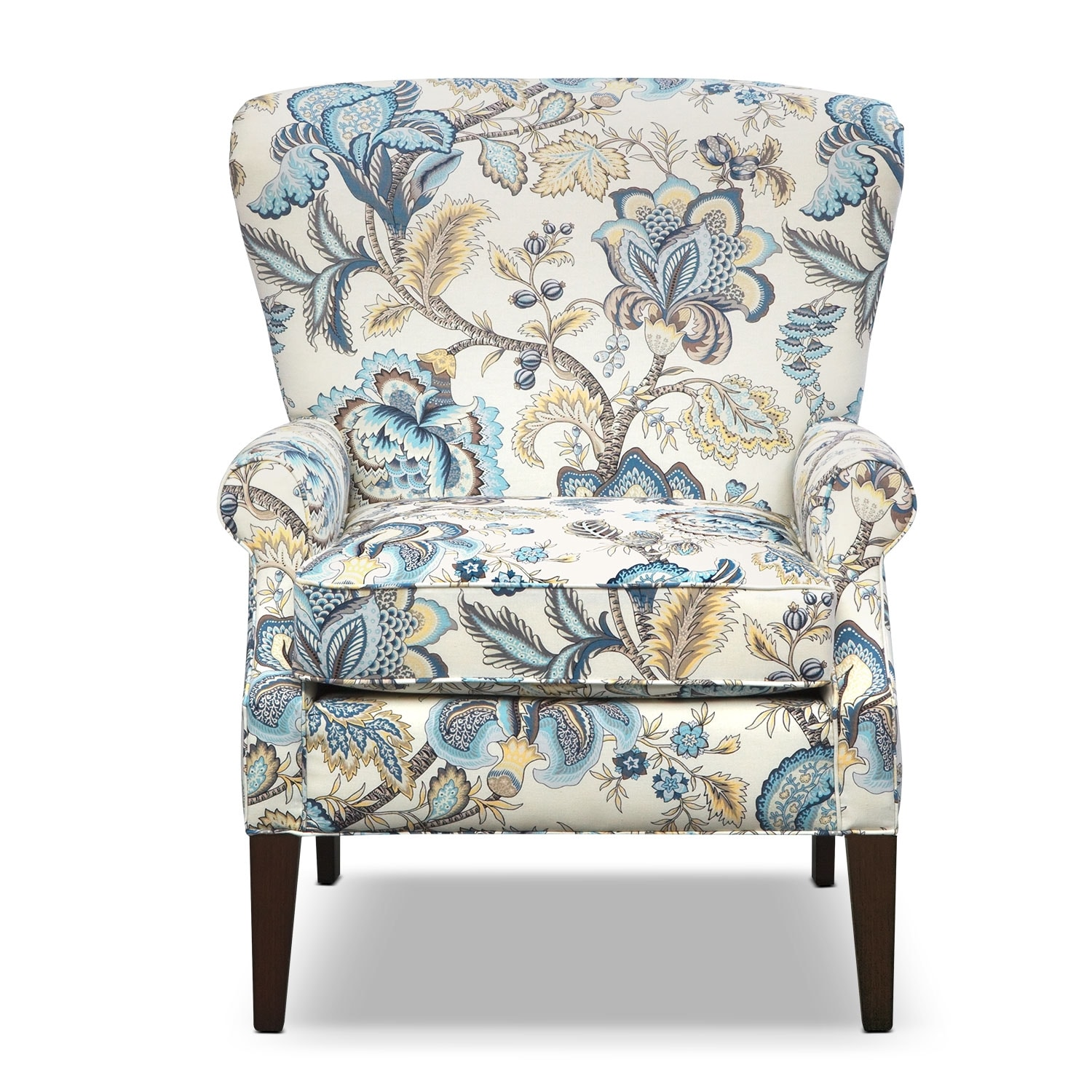 Caroline blue accent chair - Blue living room chairs ...
