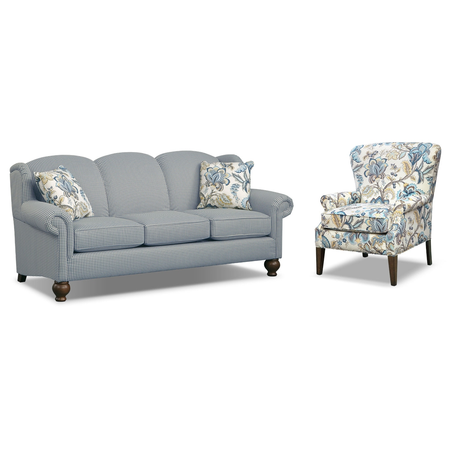 caroline blue 2 pc living room w accent chair