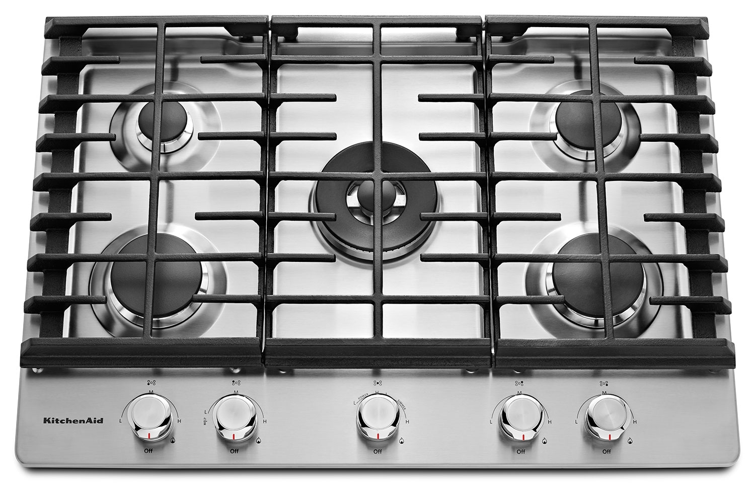 "Cooking Products - KitchenAid 30"" 5- Burner Gas Cooktop – KCGS550ESS"