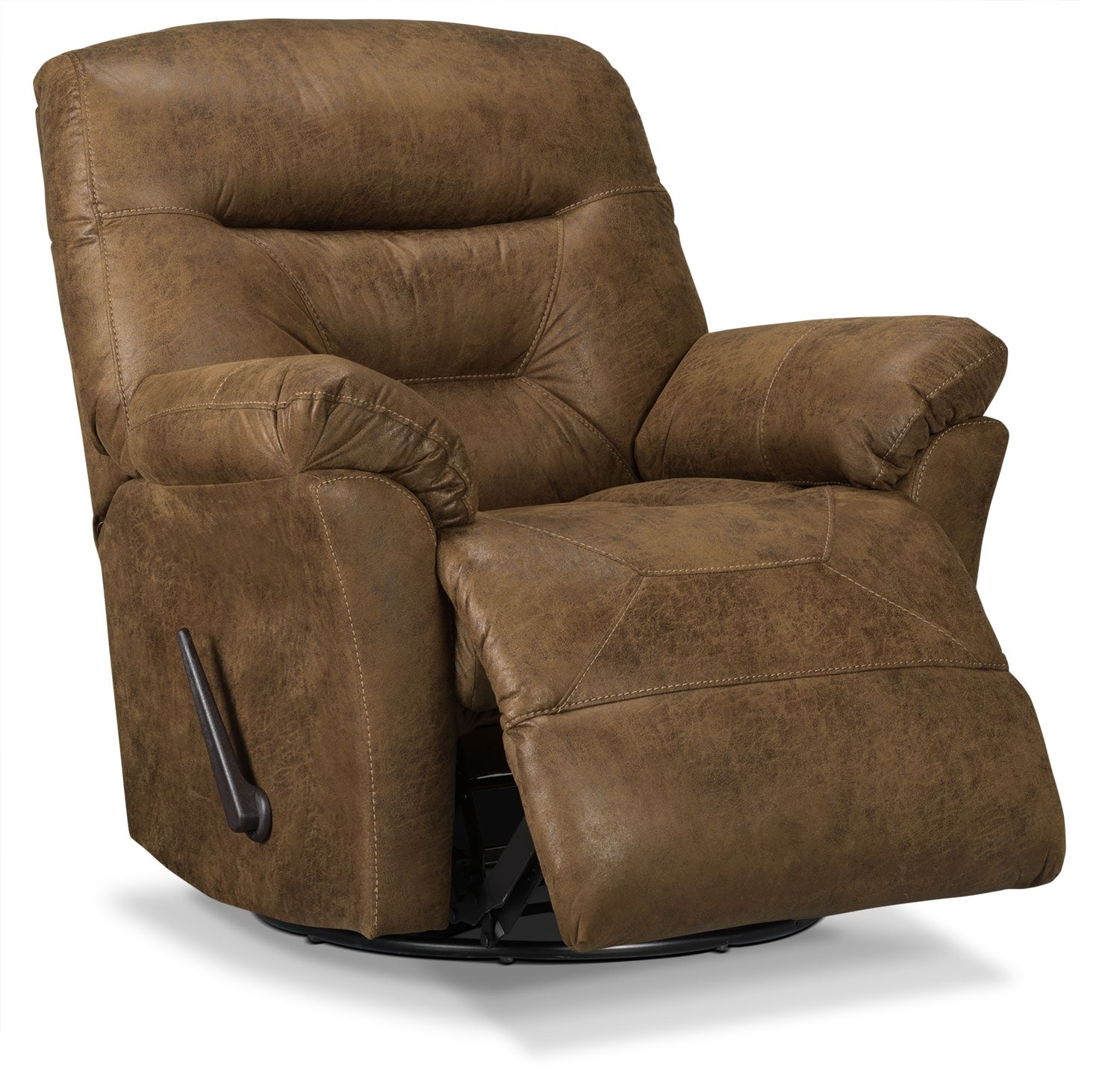 Designed2b Recliner 4579 Leather Look Fabric Swivel Glider