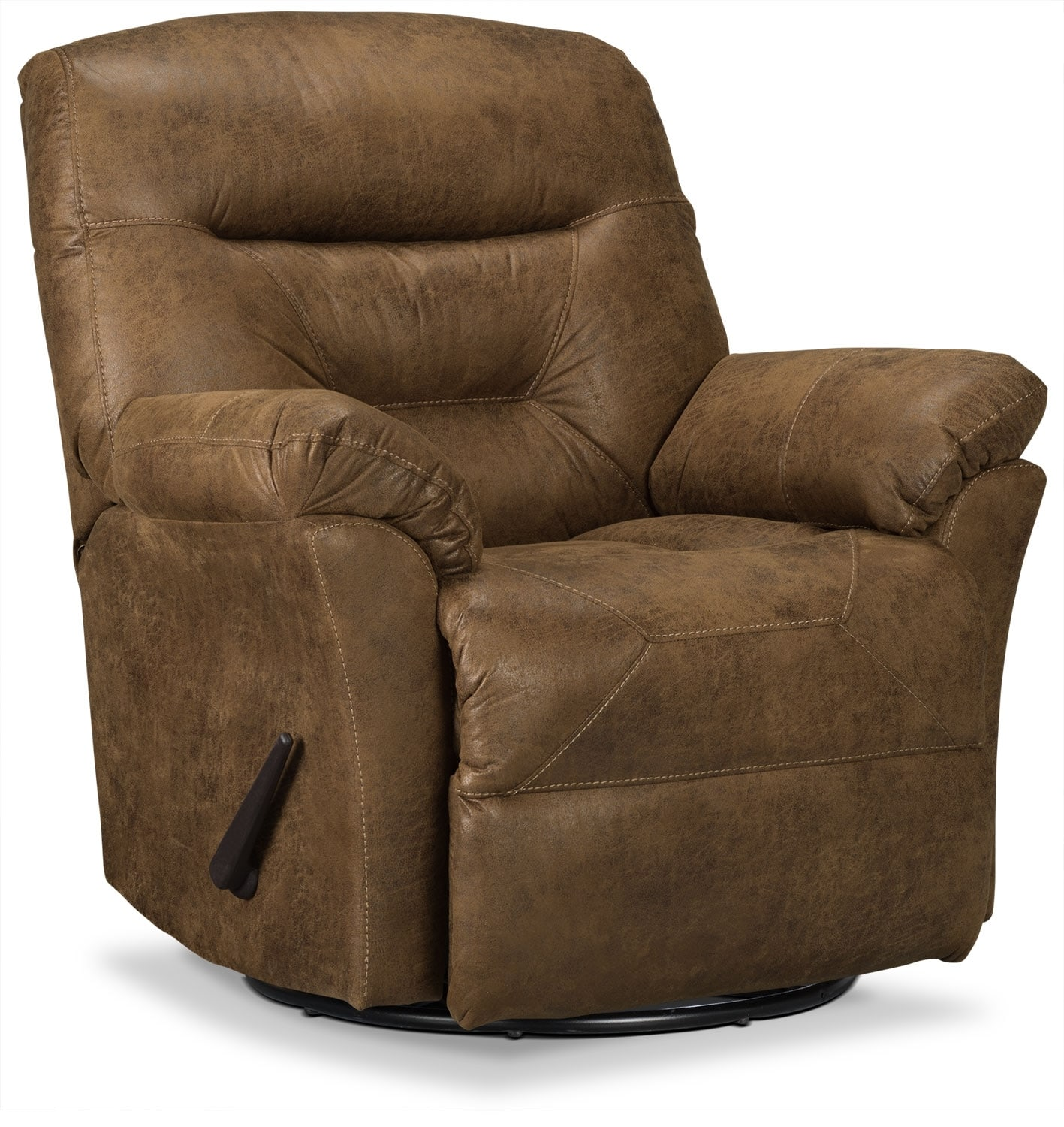 Living Room Furniture - Designed2B Recliner 4579 Leather-Look Fabric Swivel Glider Recliner - Stout
