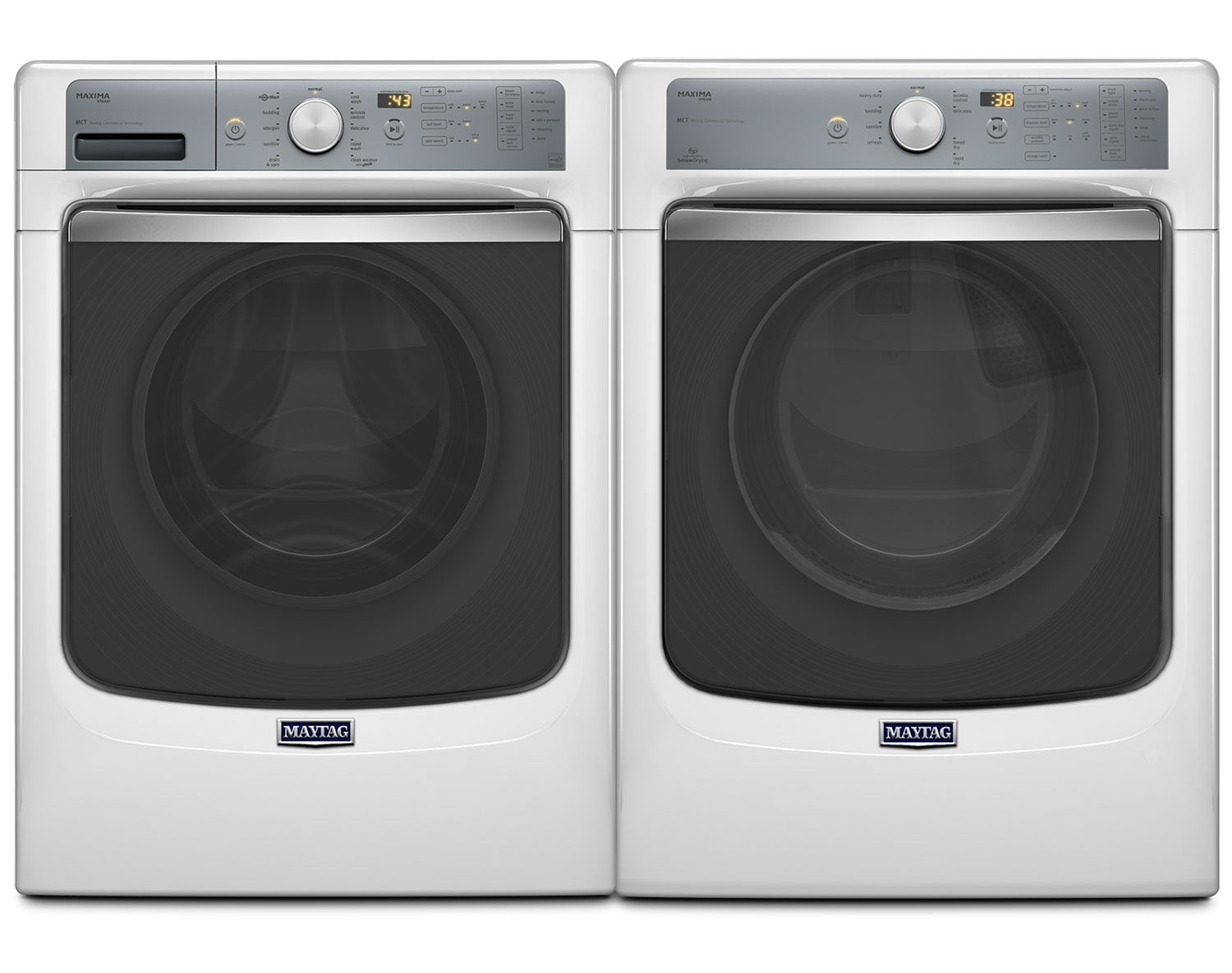[Maytag White Front-Load Laundry Pair]