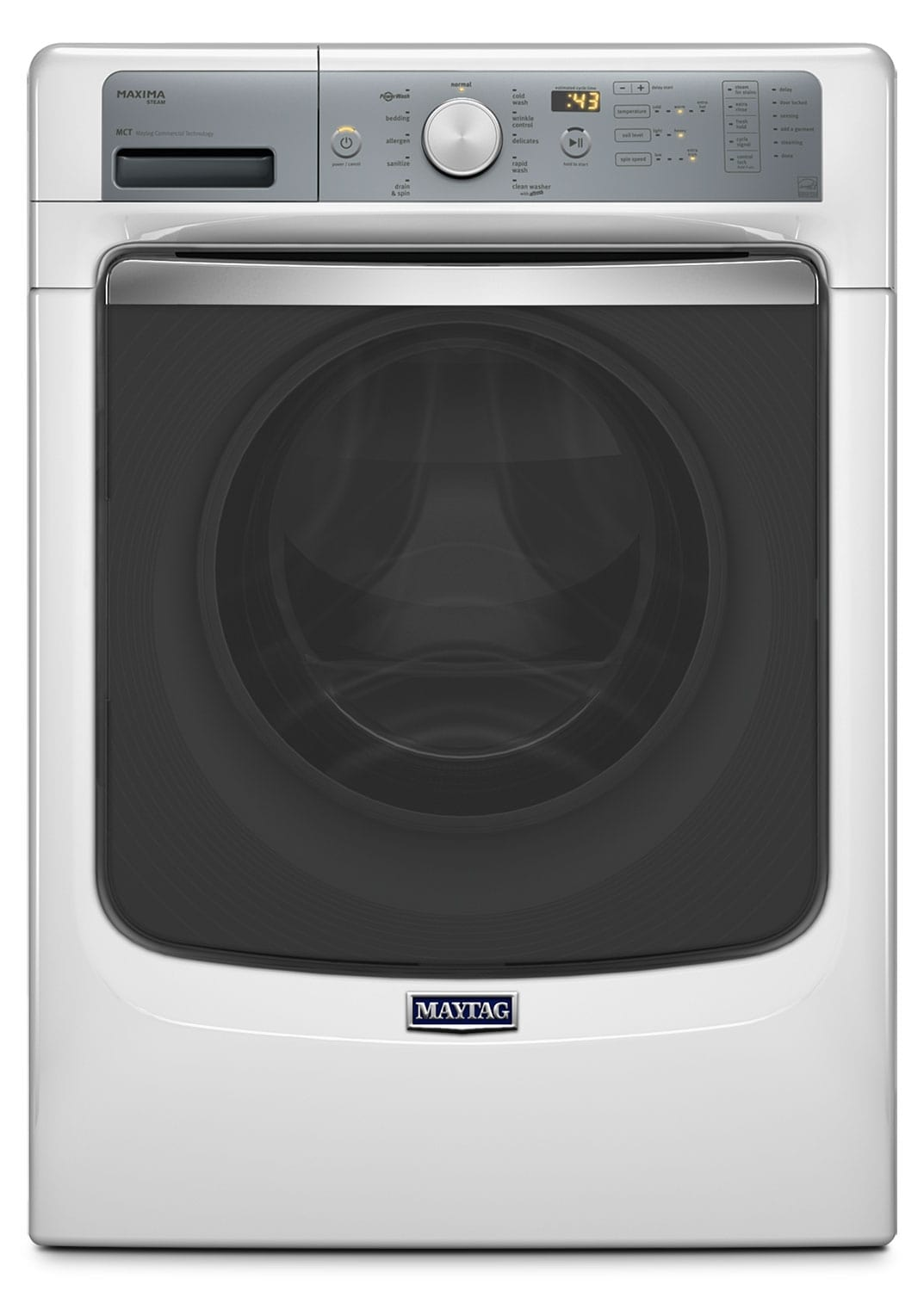Washers and Dryers - Maytag White Front-Load Washer (5.2 Cu. Ft.) - MHW7100DW