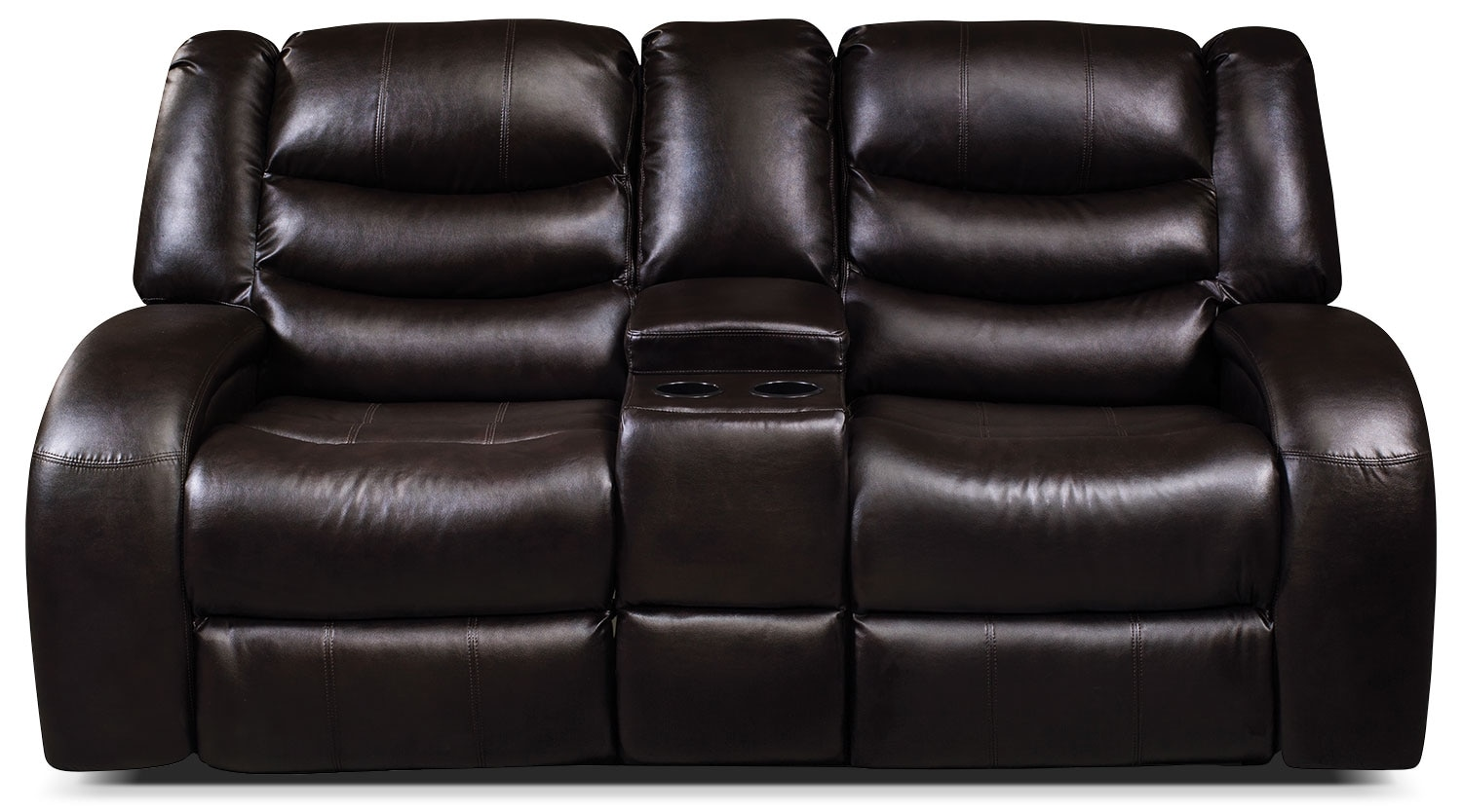 Living Room Furniture - Angus Bonded Leather Power Reclining Loveseat with Console – Dark Brown