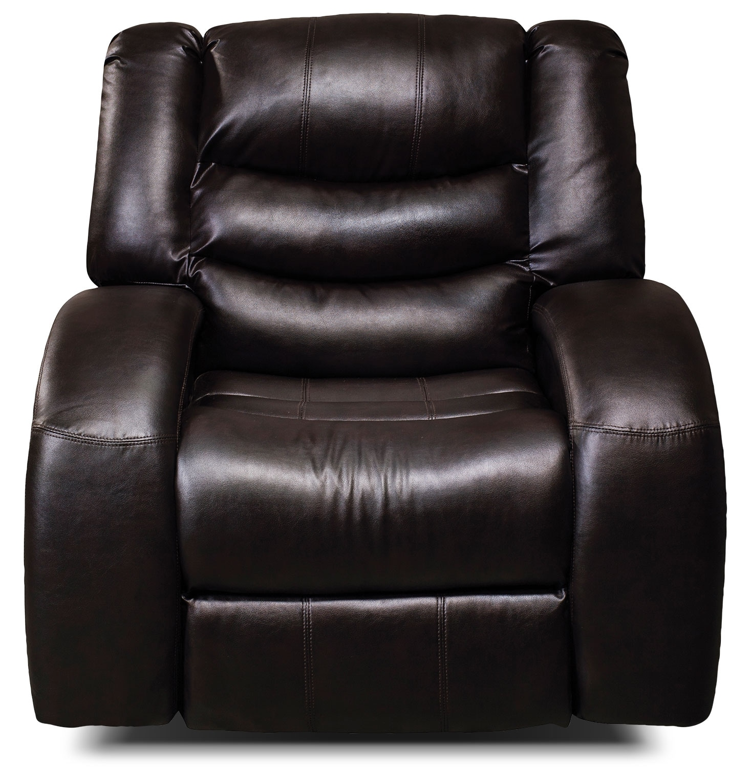 Living Room Furniture - Angus Bonded Leather Reclining Chair – Dark Brown