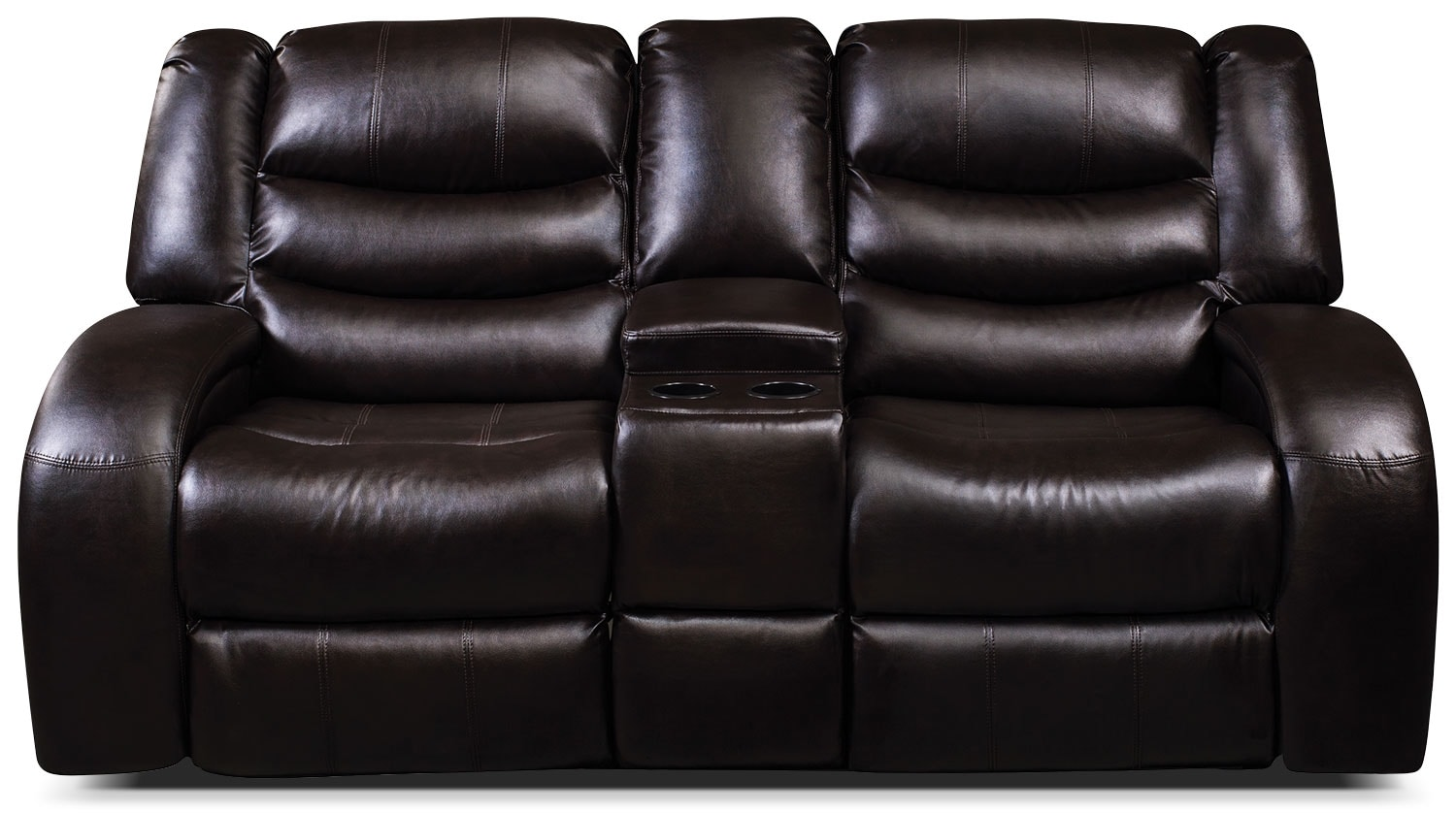 Living Room Furniture - Angus Bonded Leather Reclining Loveseat with Console – Dark Brown