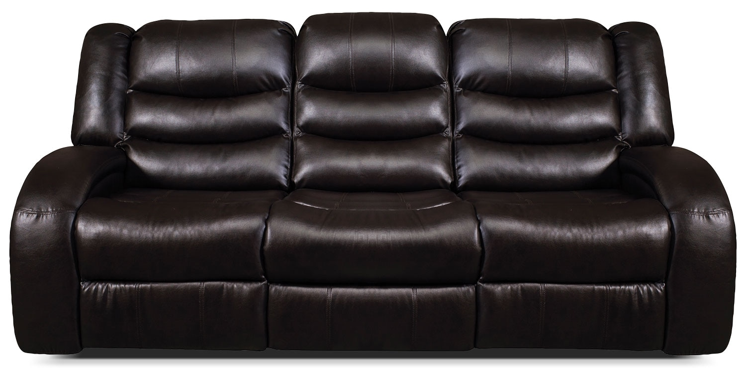Living Room Furniture - Angus Bonded Leather Reclining Sofa – Dark Brown