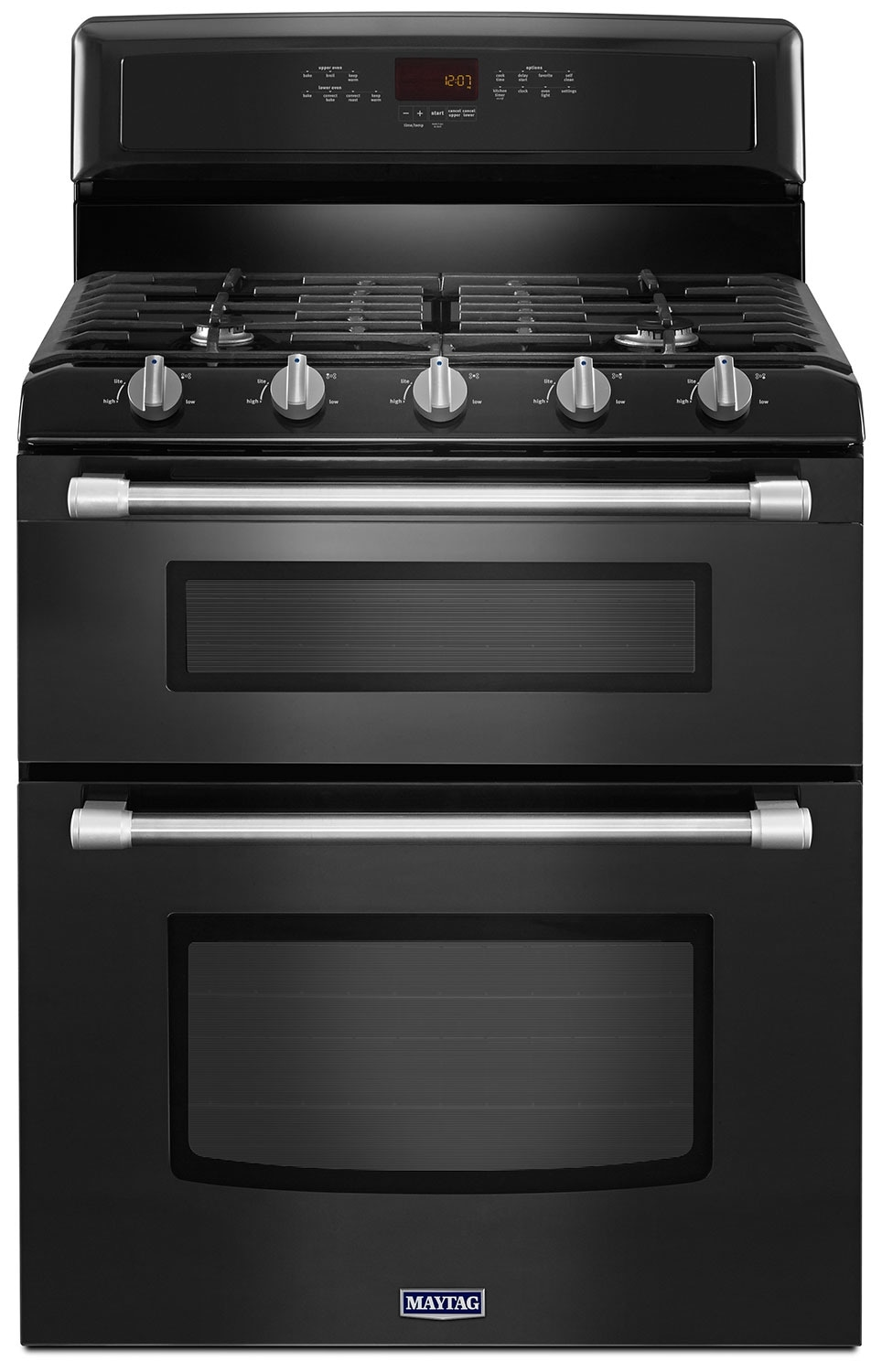 Cooking Products - Maytag Black Freestanding Double Gas Range (6.0 Cu. Ft.) - MGT8720DE
