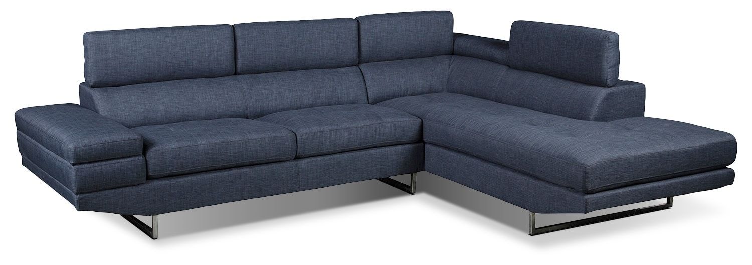 Living Room Furniture - Zeke 2-Piece Linen-Look Fabric Right -Facing Sectional - Denim