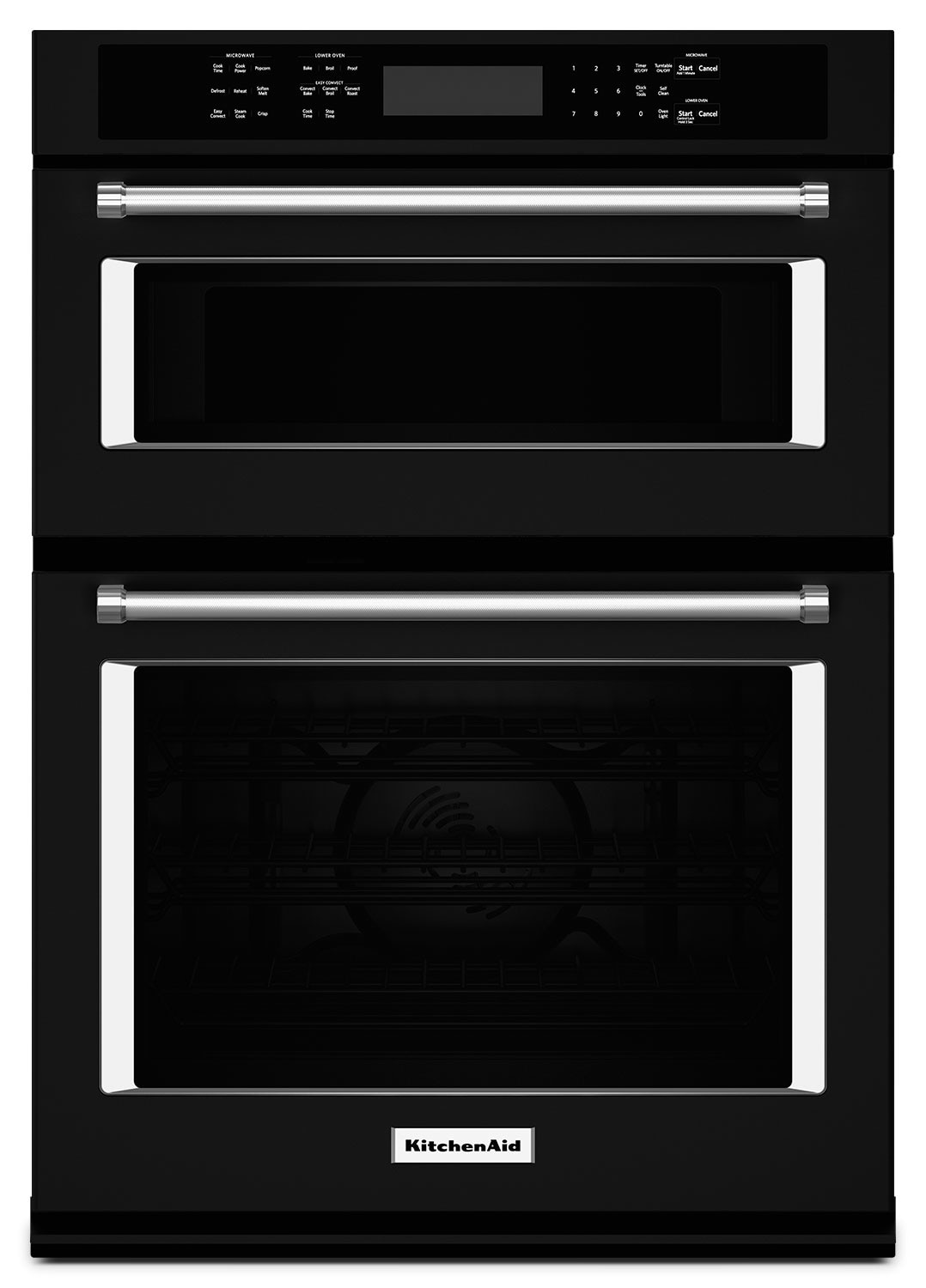 "Cooking Products - KitchenAid 27"" Combination Wall Oven with Even-Heat™ True Convection - Black"
