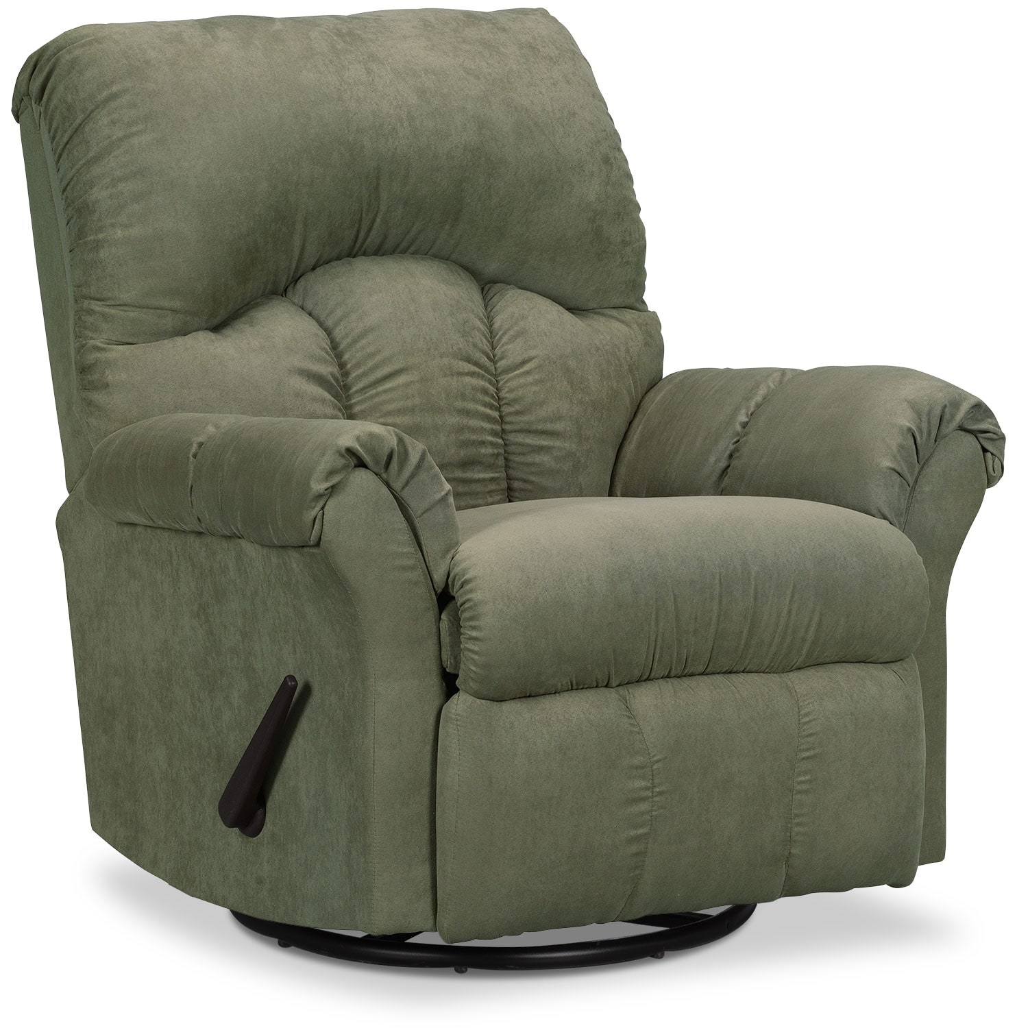 Living Room Furniture - Designed2B Recliner 6734 Microsuede Swivel Glider Chair - Fern