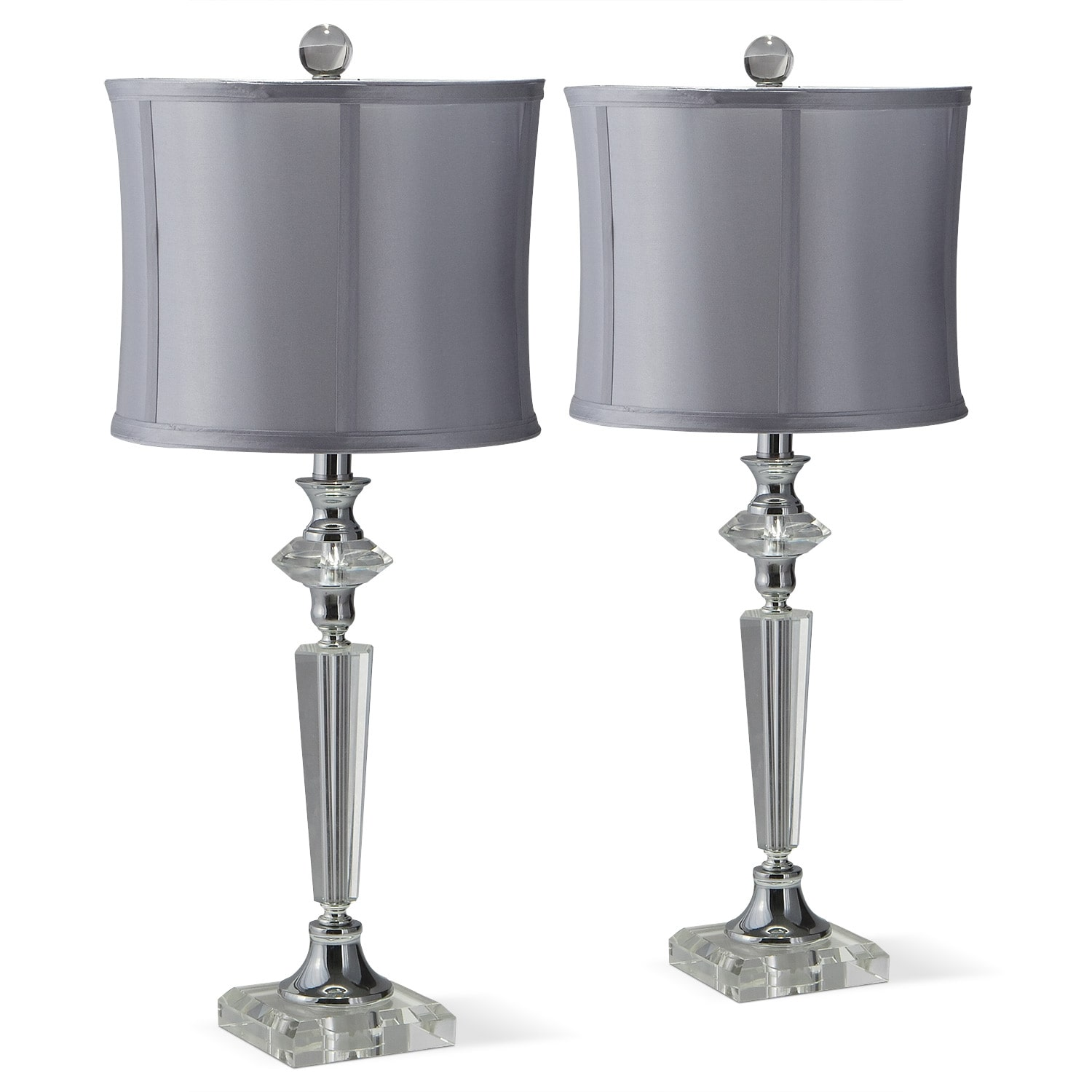 Living Room Lamp Sets: Crystal Silver 2-Pack Table Lamp Set