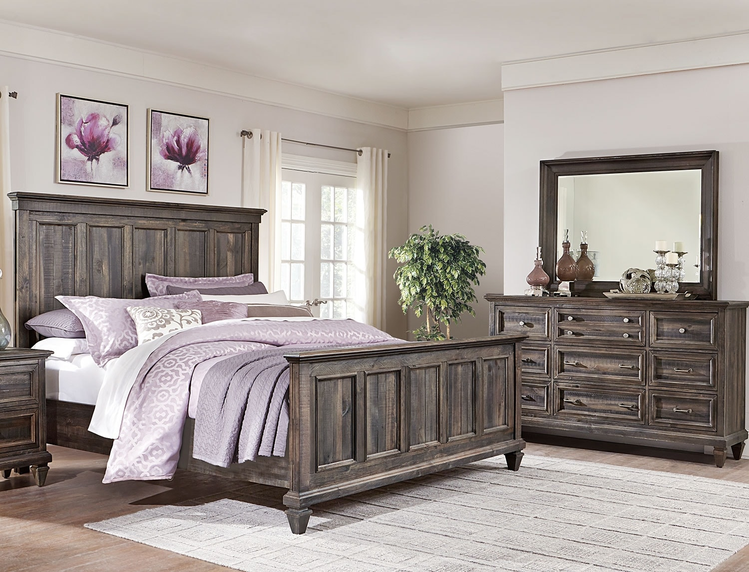 Bedroom Furniture - Calistoga 5-Piece King Bedroom Package - Weathered Charcoal