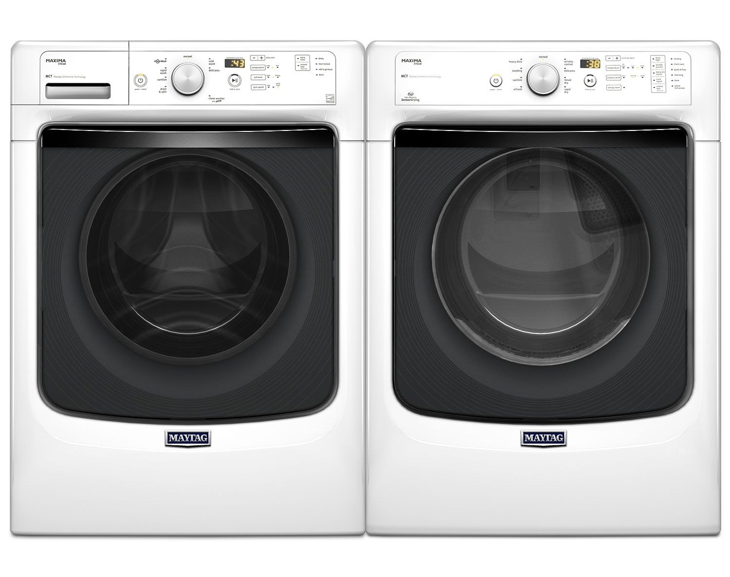 [Maytag Maxima® White Front-Load Laundry Pair]