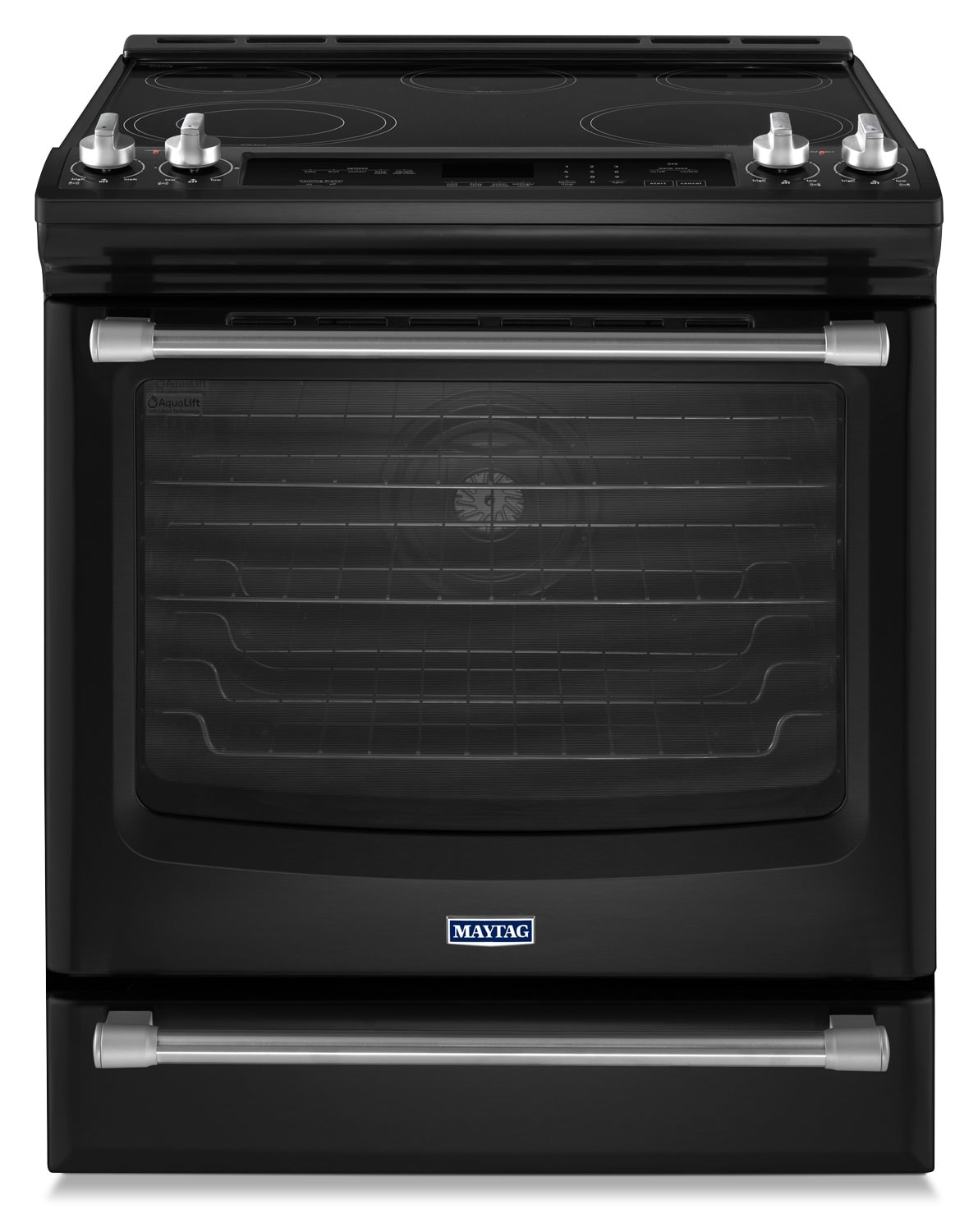 [Maytag Black Slide-In Electric Convection Range (6.4 Cu. Ft.) - YMES8880DE]