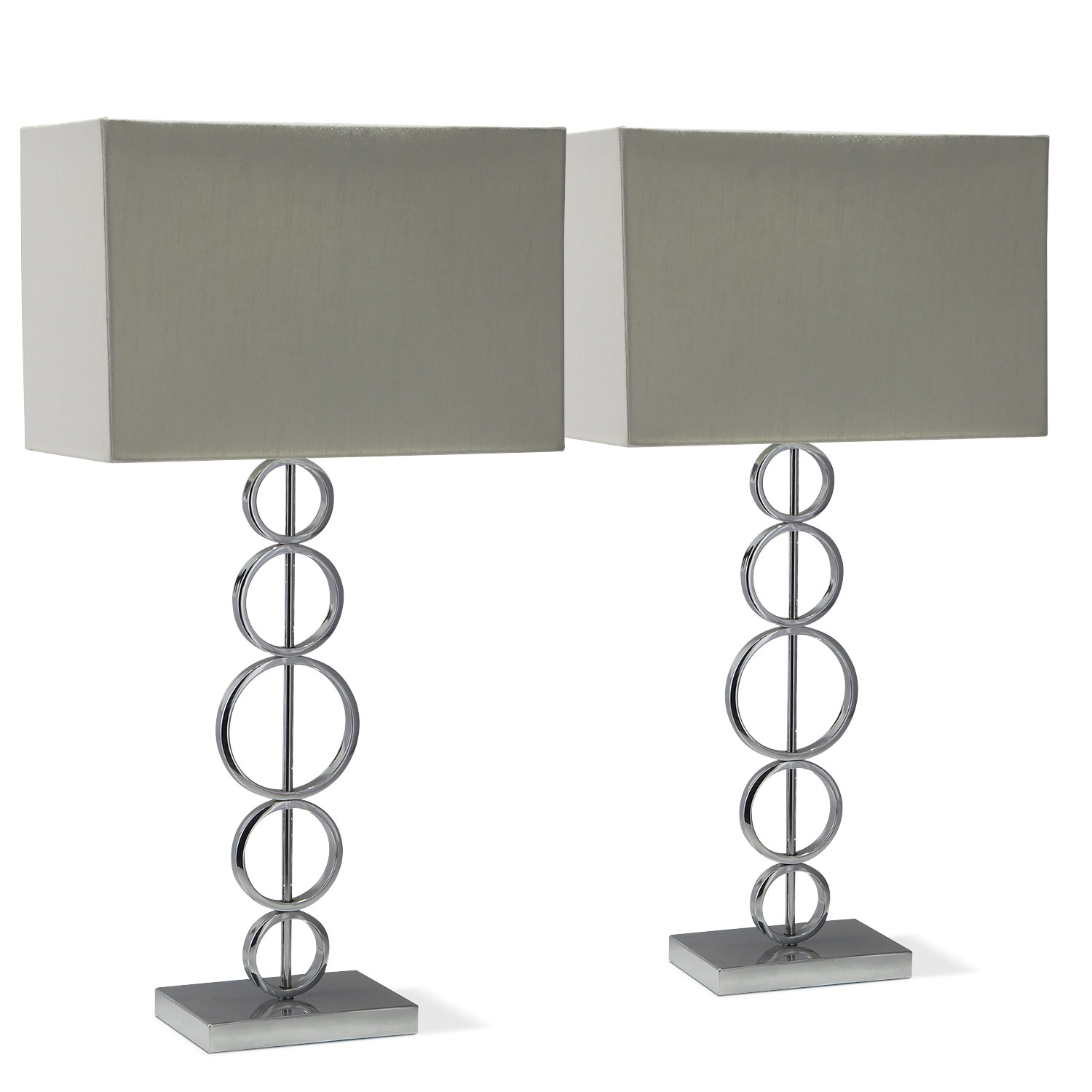 [Chrome Circle 2-Pack Table Lamps]