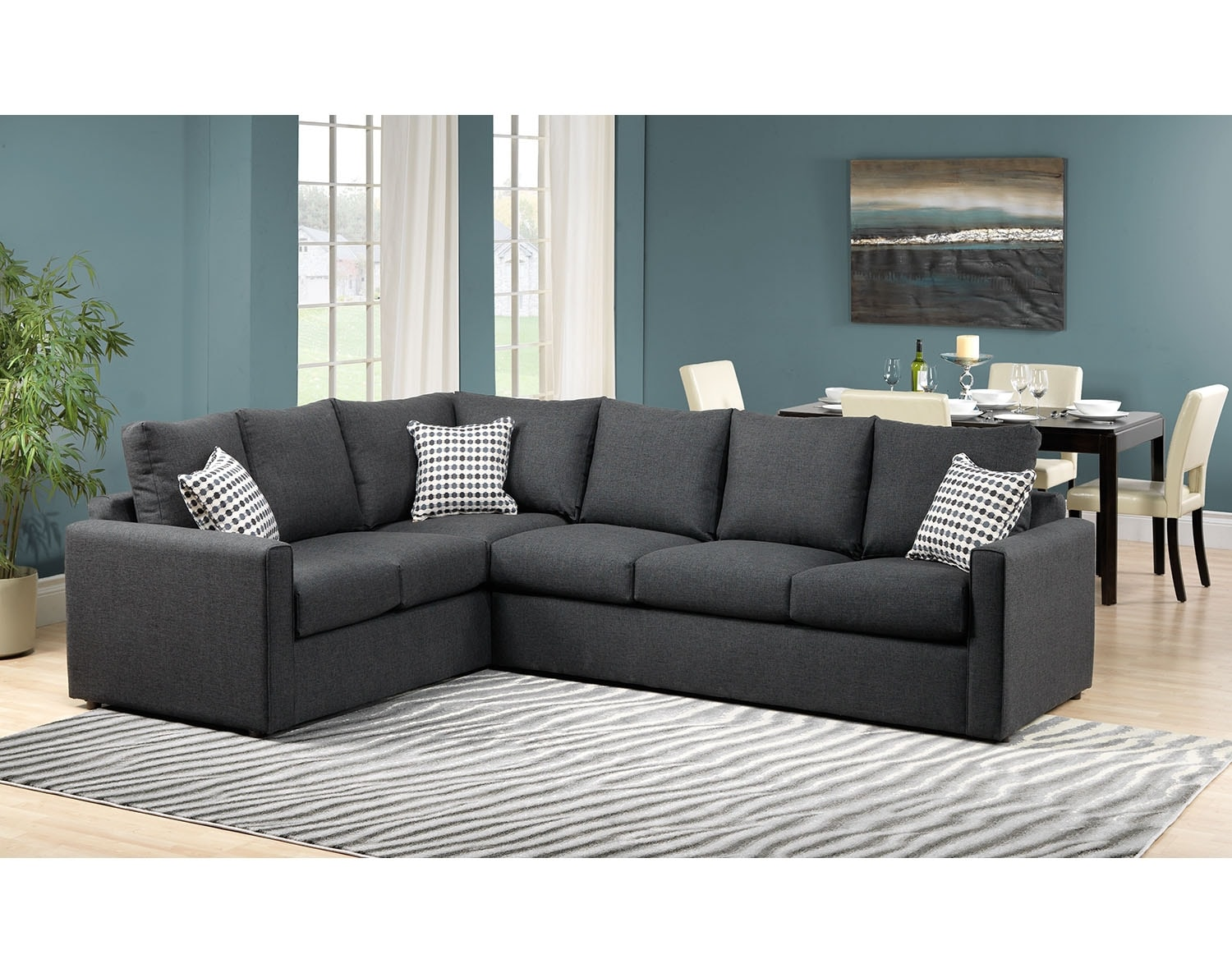 Athina 2 piece right facing queen sofa bed sectional for Sofa lit laval