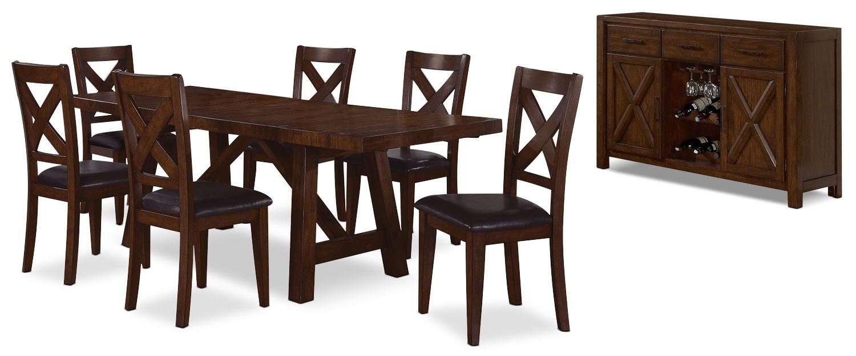Salle à manger - Ensemble de salle à manger Adara 8 pièces avec le motif croisé sur le dossier