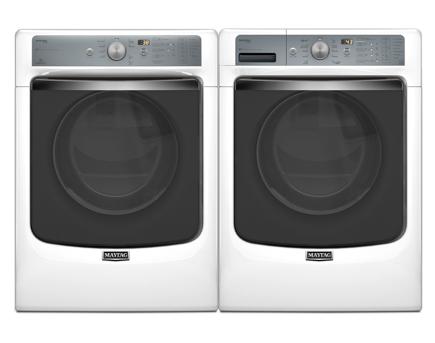 [Maytag Maxima® White Front-Load Laundry Pair w/ PowerWash® and SoundGuard® Dryer Drum]
