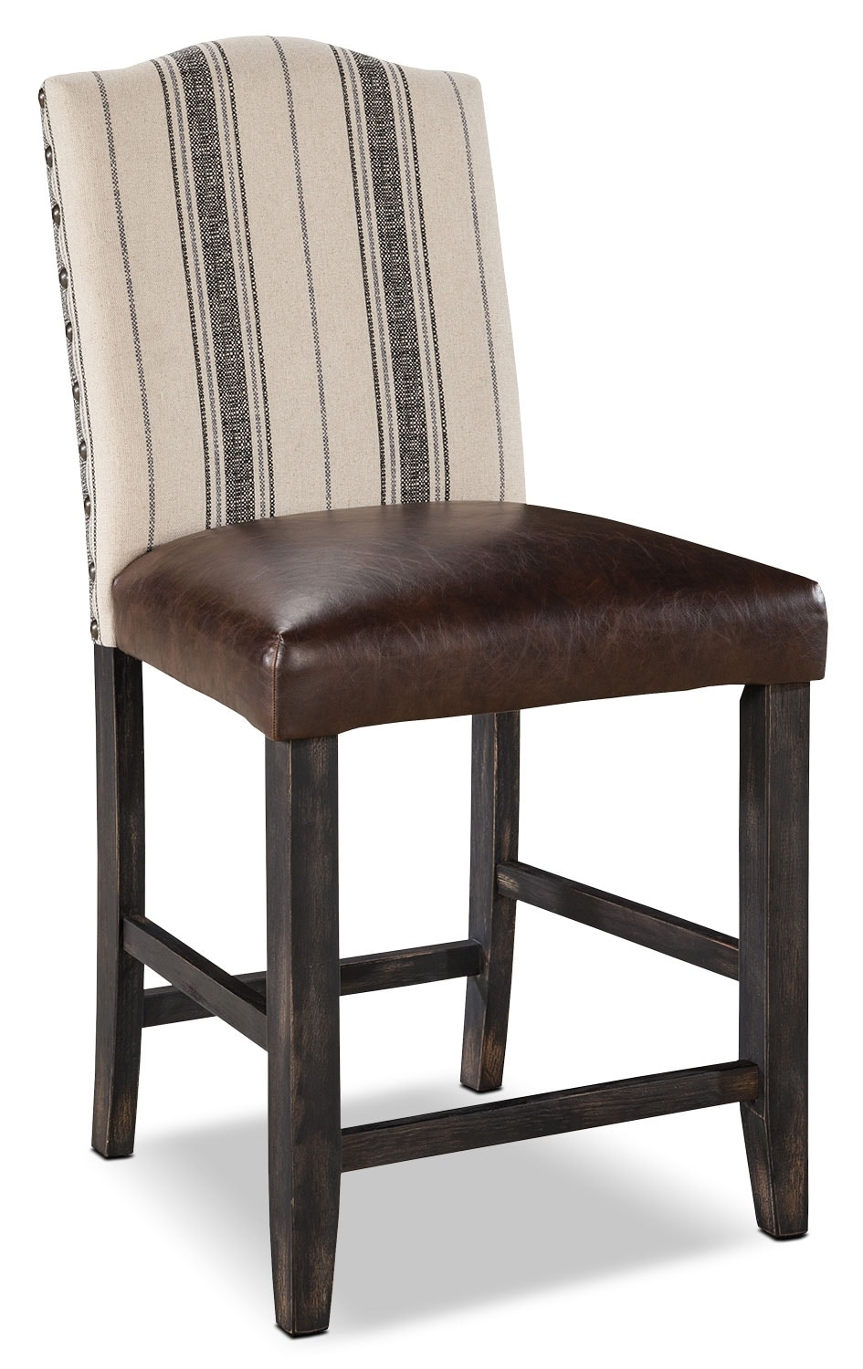 Dining Room Furniture - Moriann Linen and Faux Leather Counter-Height Stool - Dark Brown