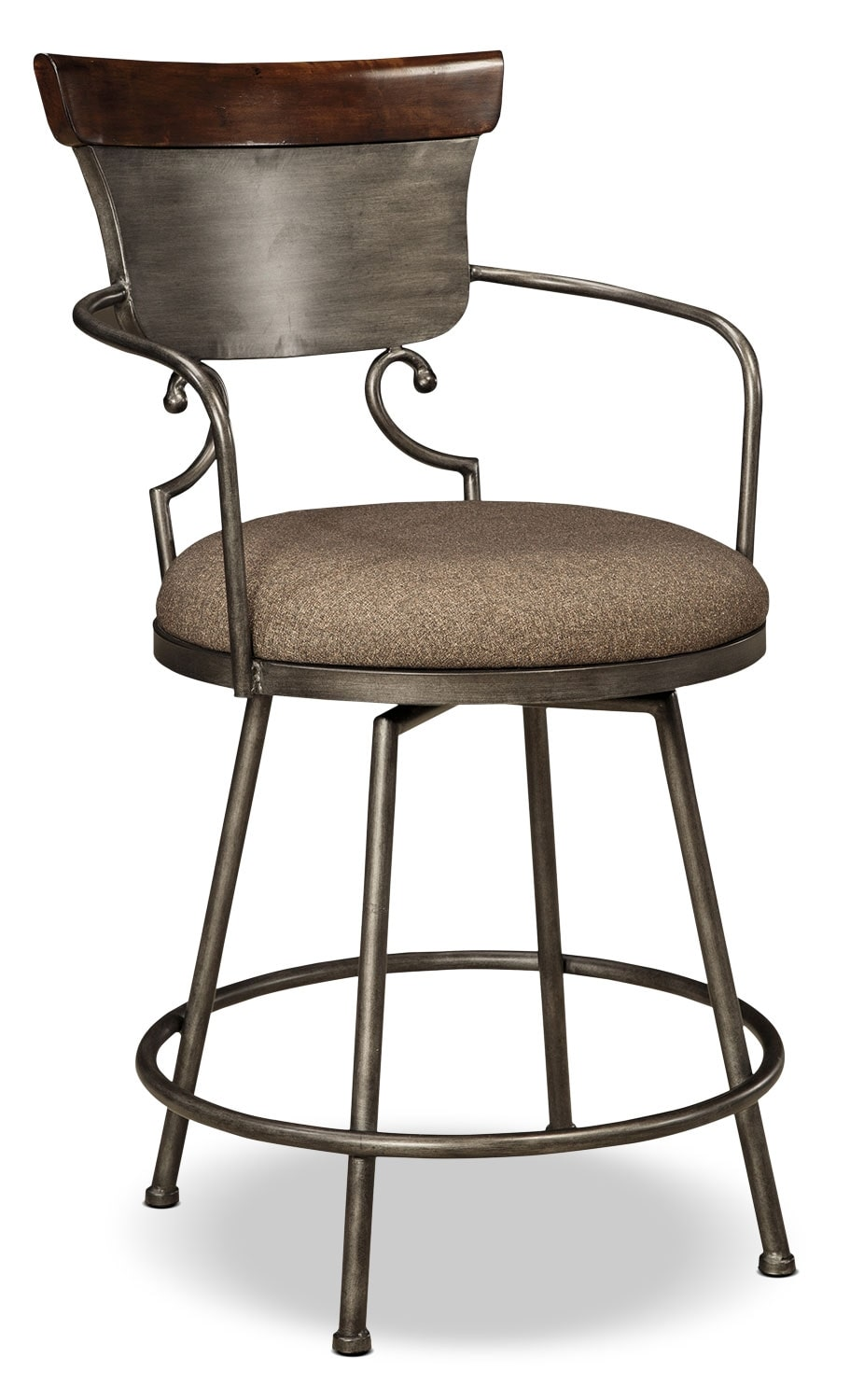 Moriann metal counter height stool dark brown the brick - Aluminum counter height stools ...