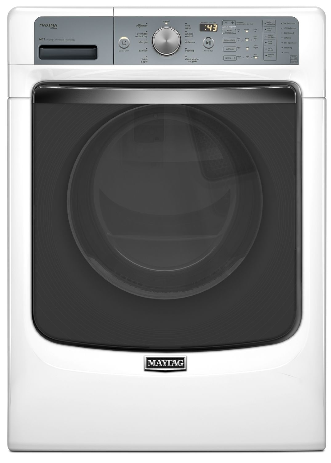 Washers and Dryers - Maytag Maxima® White Front-Load Washer w/ PowerWash® System (5.2 Cu. Ft. IEC) - MHW8100DW