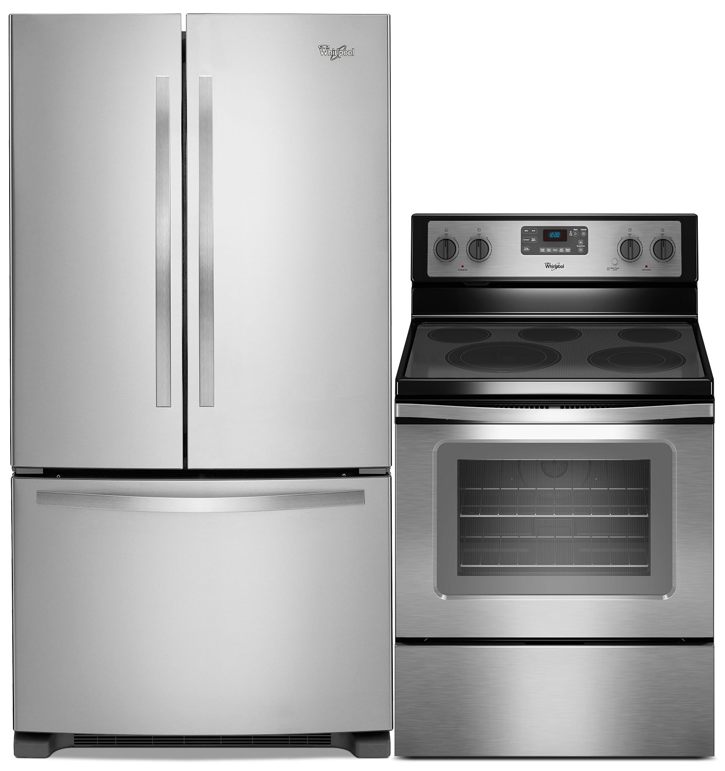 Cooking Products - Whirlpool 22 Cu. Ft. French-Door Refrigerator and Free-Standing Convection Range - Stainless Steel