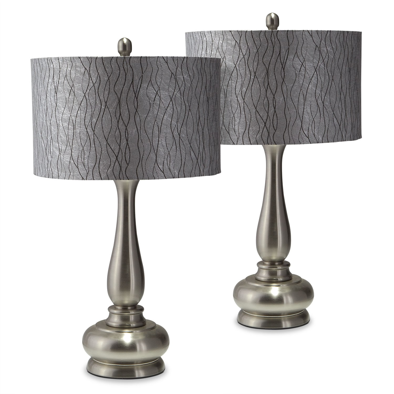 metal silver 2 pack table lamps value city furniture