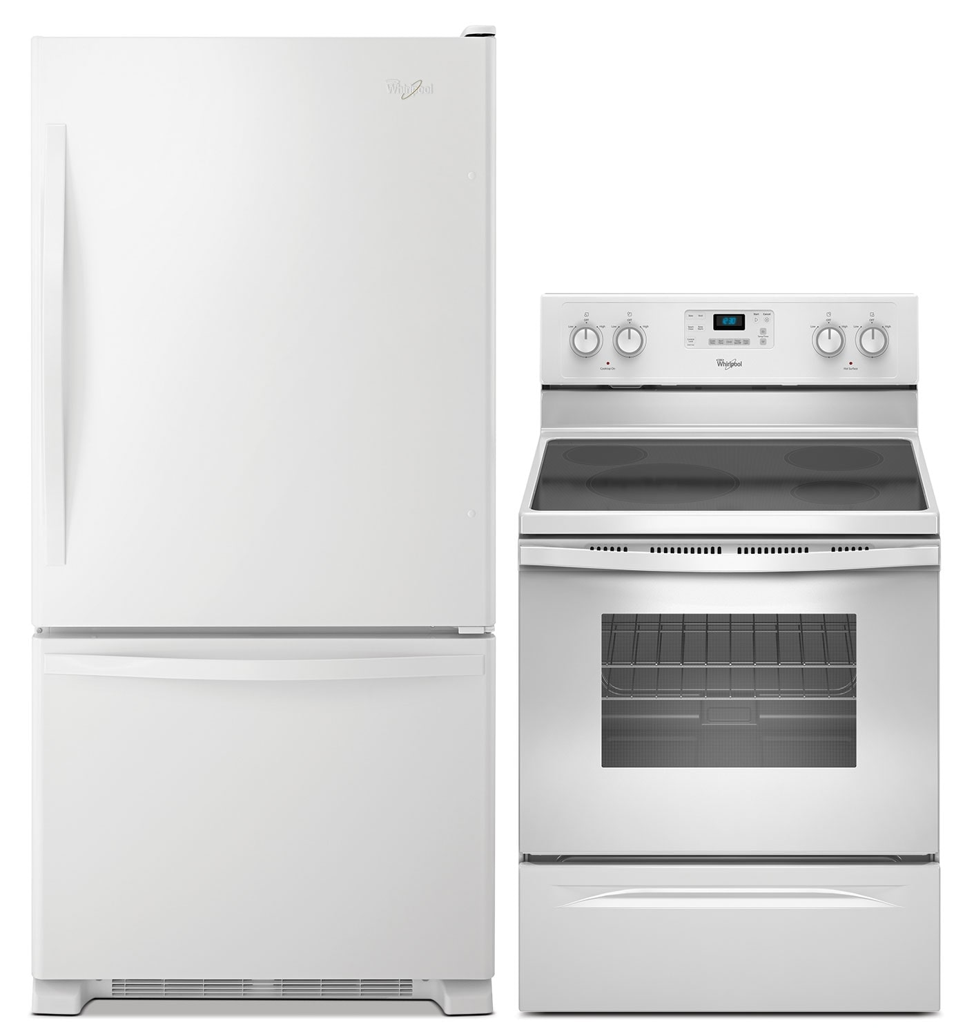 Refrigerators and Freezers - Whirlpool 18.5 Cu. Ft. Refrigerator and Free-Standing Range with Steam - White