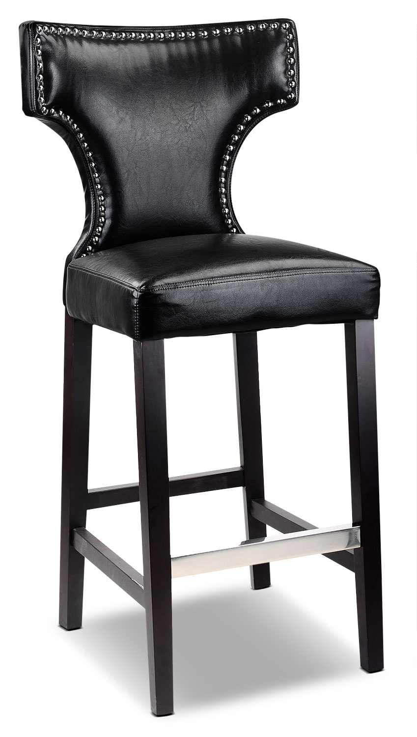 Kings Bar-Height Bar Stool with Metal Studs – Black