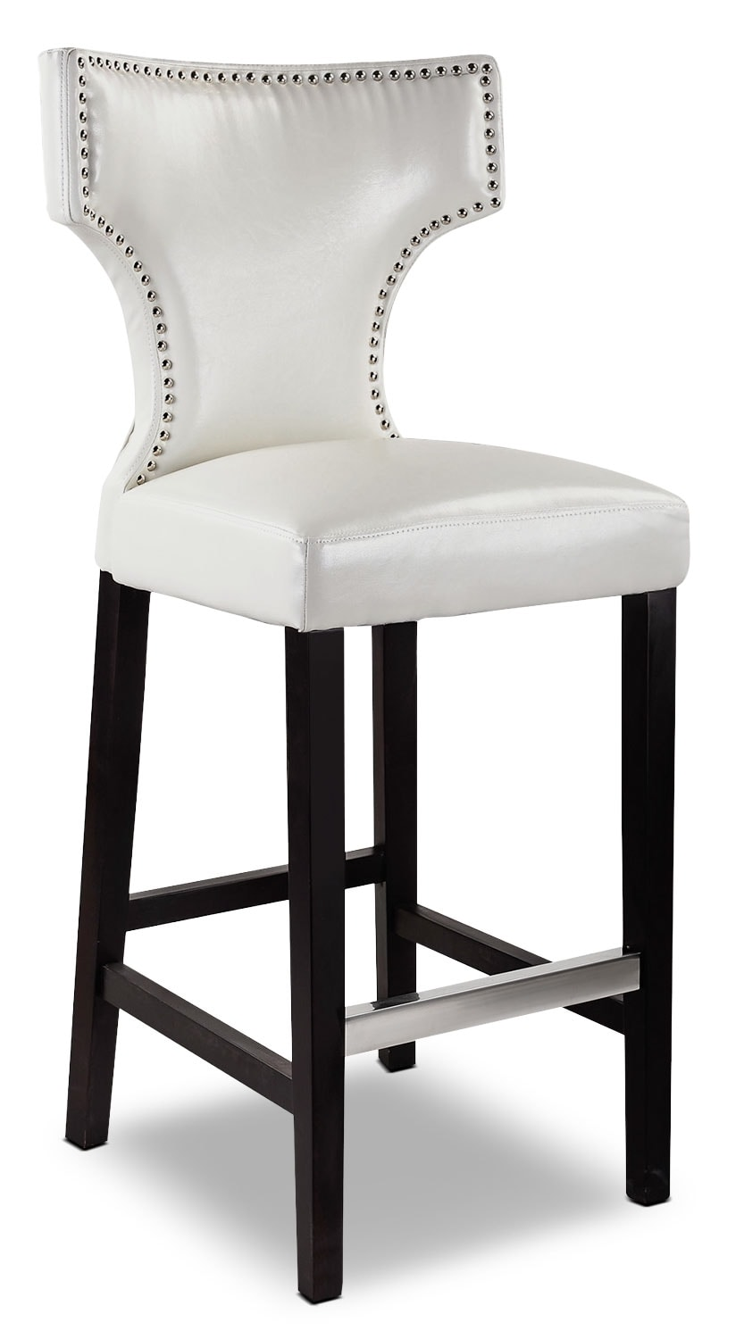 Kings Bar-Height Bar Stool with Metal Studs – White