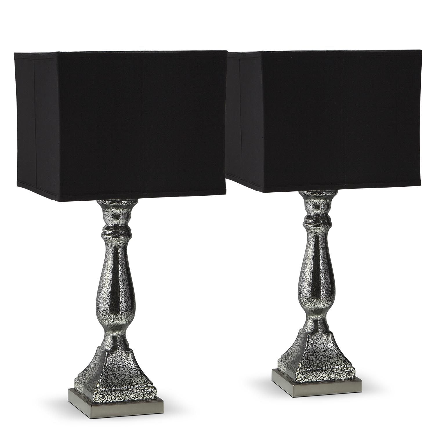 [Silver Black Mercury 2-Pack Table Lamps]