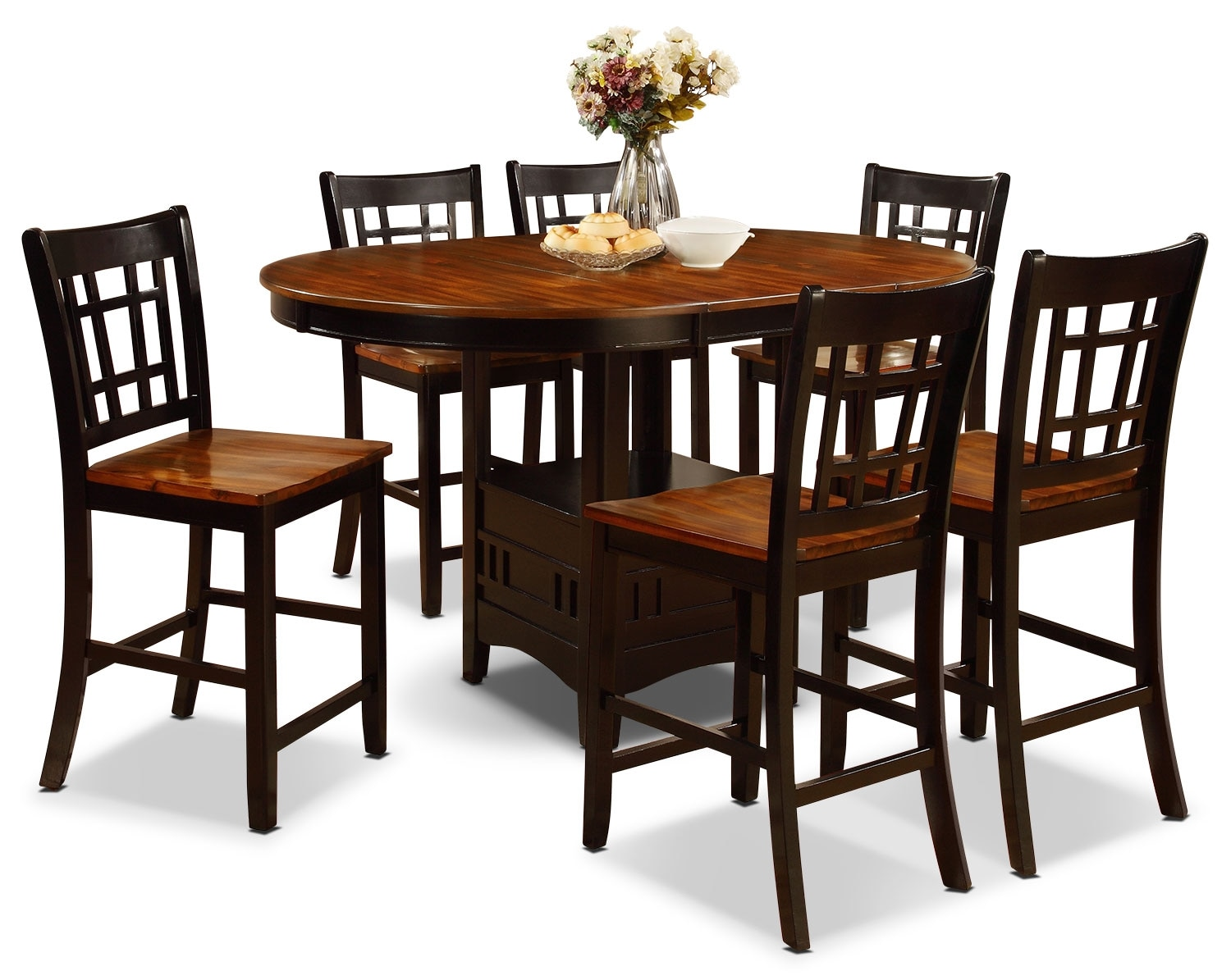 Dining Room Furniture - Dara 7-Piece Counter-Height Dining Package