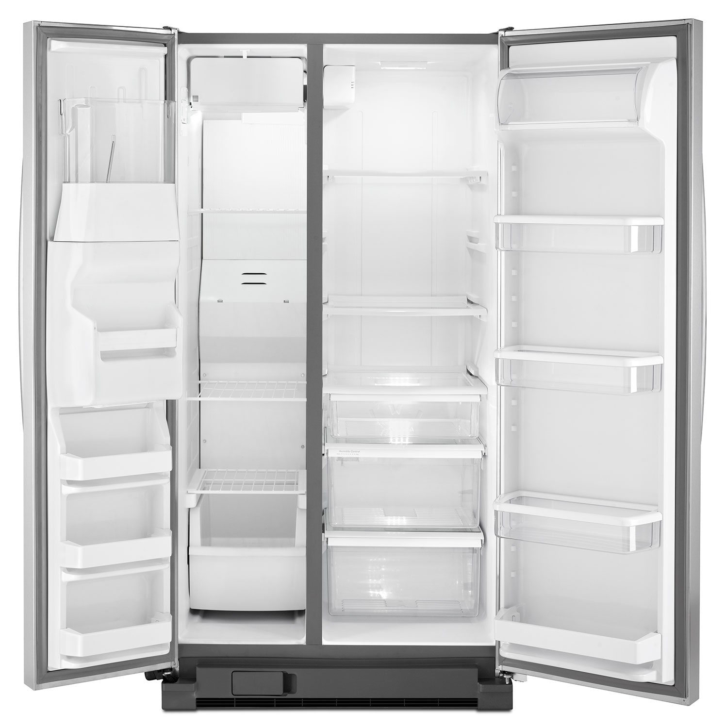 whirlpool stainless steel side by side refrigerator 21 3 cu ft wrs342fiam leon 39 s. Black Bedroom Furniture Sets. Home Design Ideas