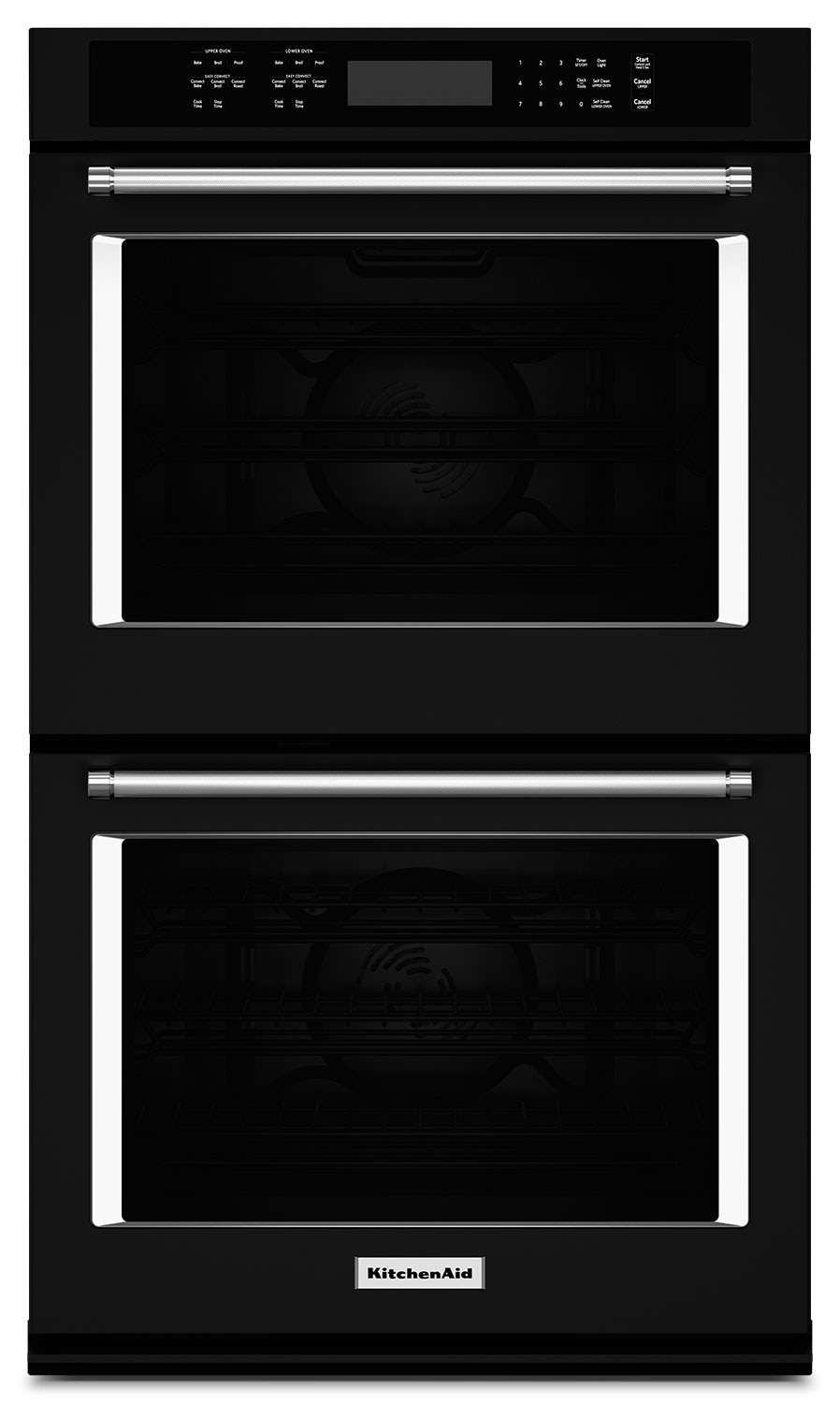 "Cooking Products - KitchenAid 27"" Double Wall Oven with Even-Heat™ True Convection - Black"