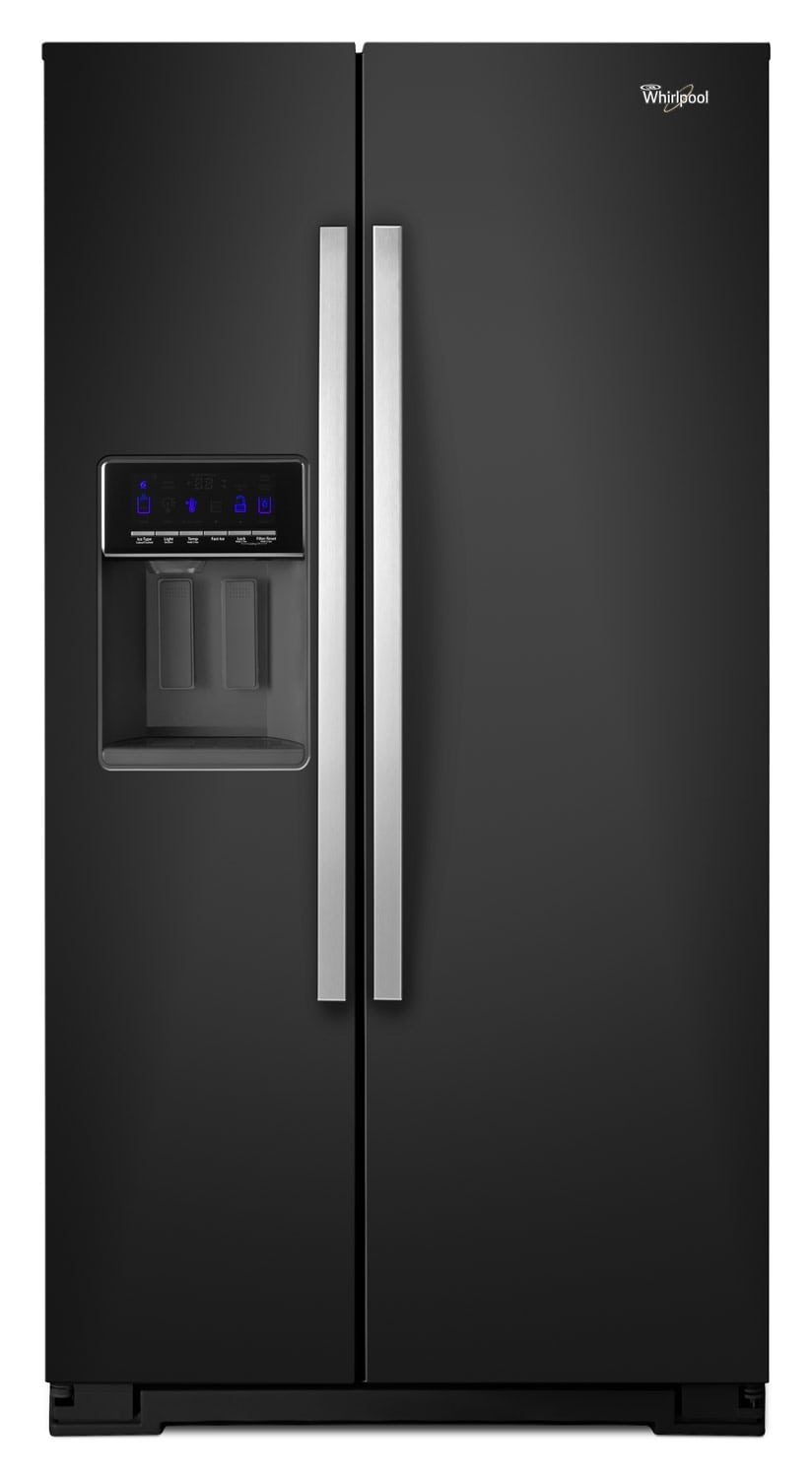 Refrigerators and Freezers - Whirlpool Black Side-by-Side Refrigerator (25.6 Cu. Ft.) - WRS586FIEE