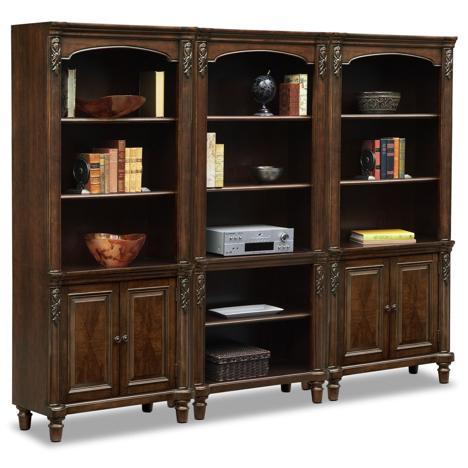 ashland wall bookcase with 2 cabinets cherry value