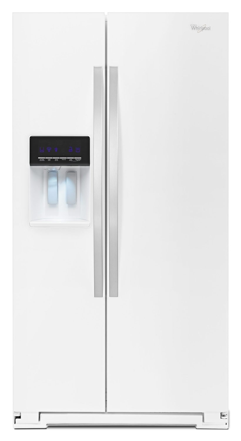 whirlpool white side by side refrigerator 25 6 cu ft wrs586fieh leon 39 s. Black Bedroom Furniture Sets. Home Design Ideas